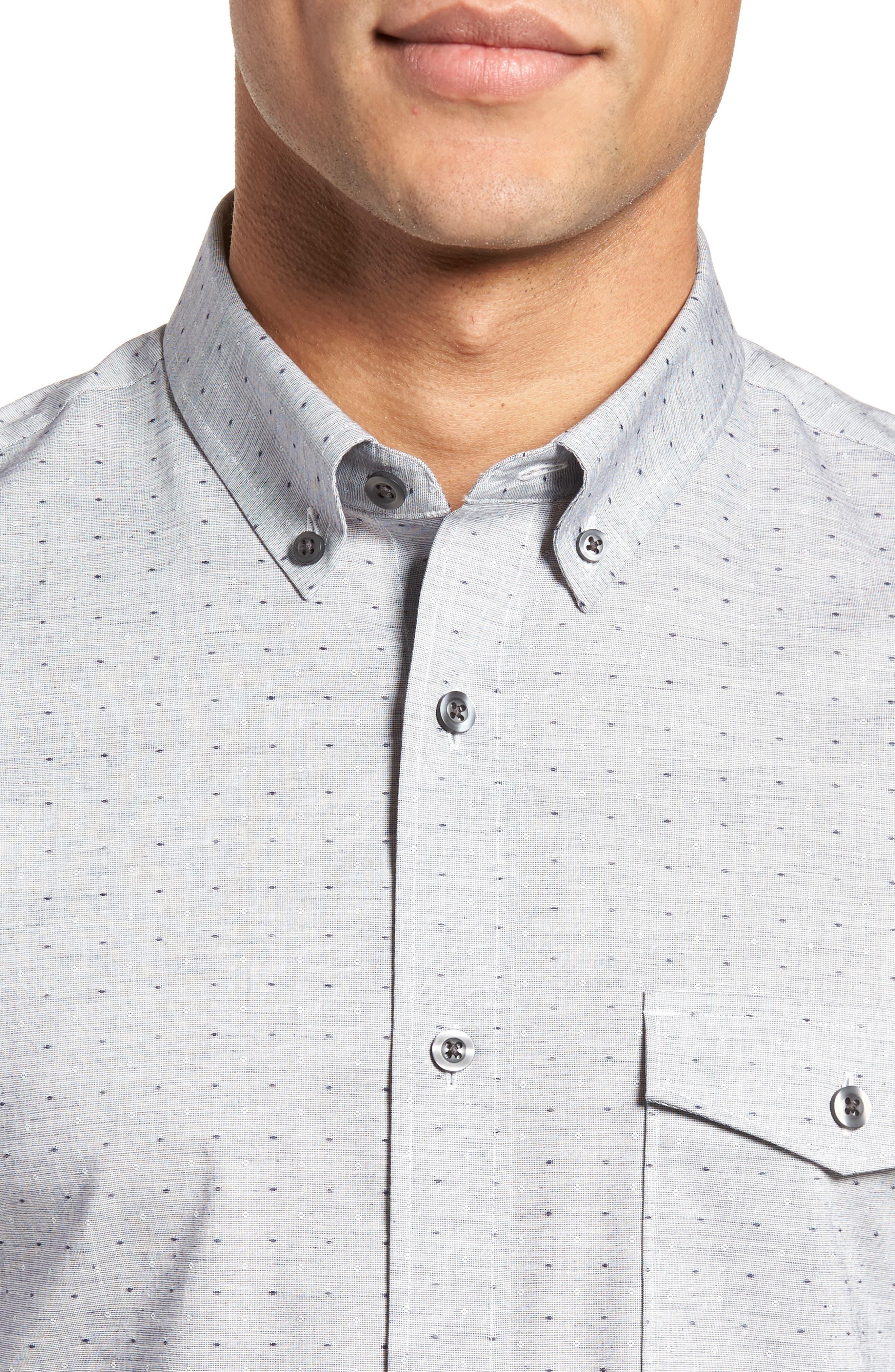 Trim Fit Dobby Sport Shirt,                             Alternate thumbnail 2, color,                             Navy White Eoe Dobby