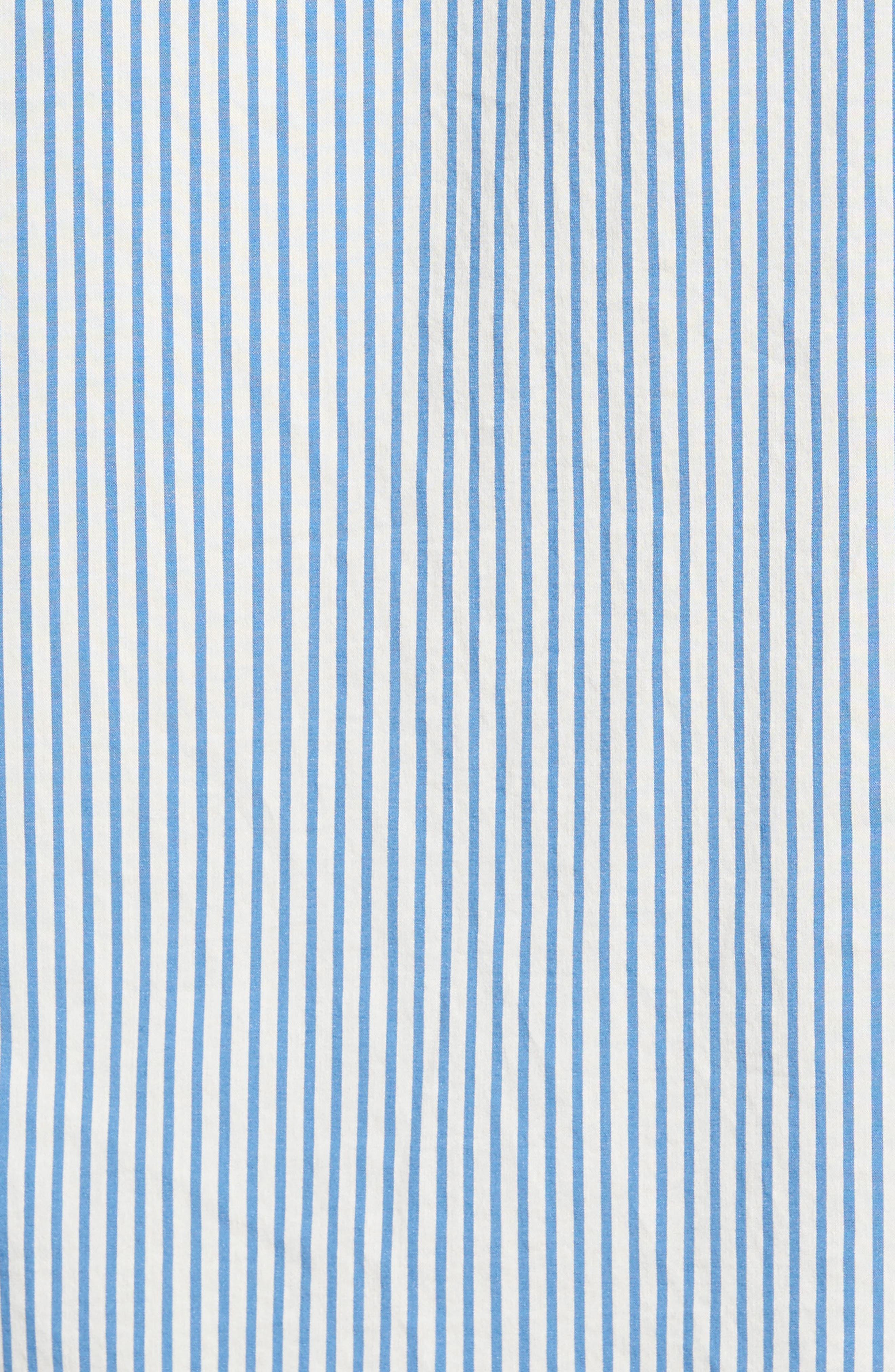 Regular Fit Stripe Sport Shirt,                             Alternate thumbnail 5, color,                             White/ Ocean Blue