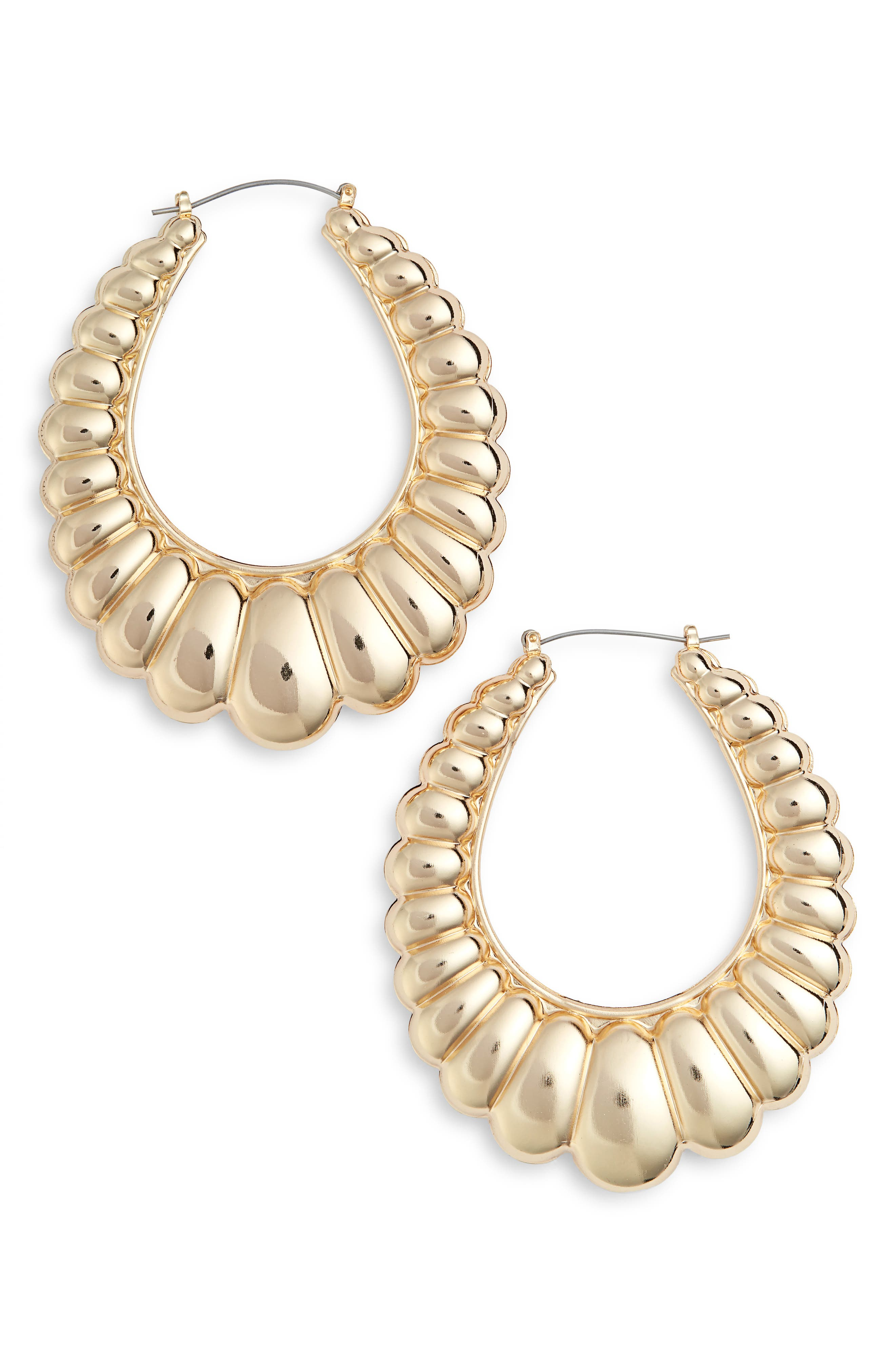 Scalloped Oval Hoop Earrings,                         Main,                         color, Gold
