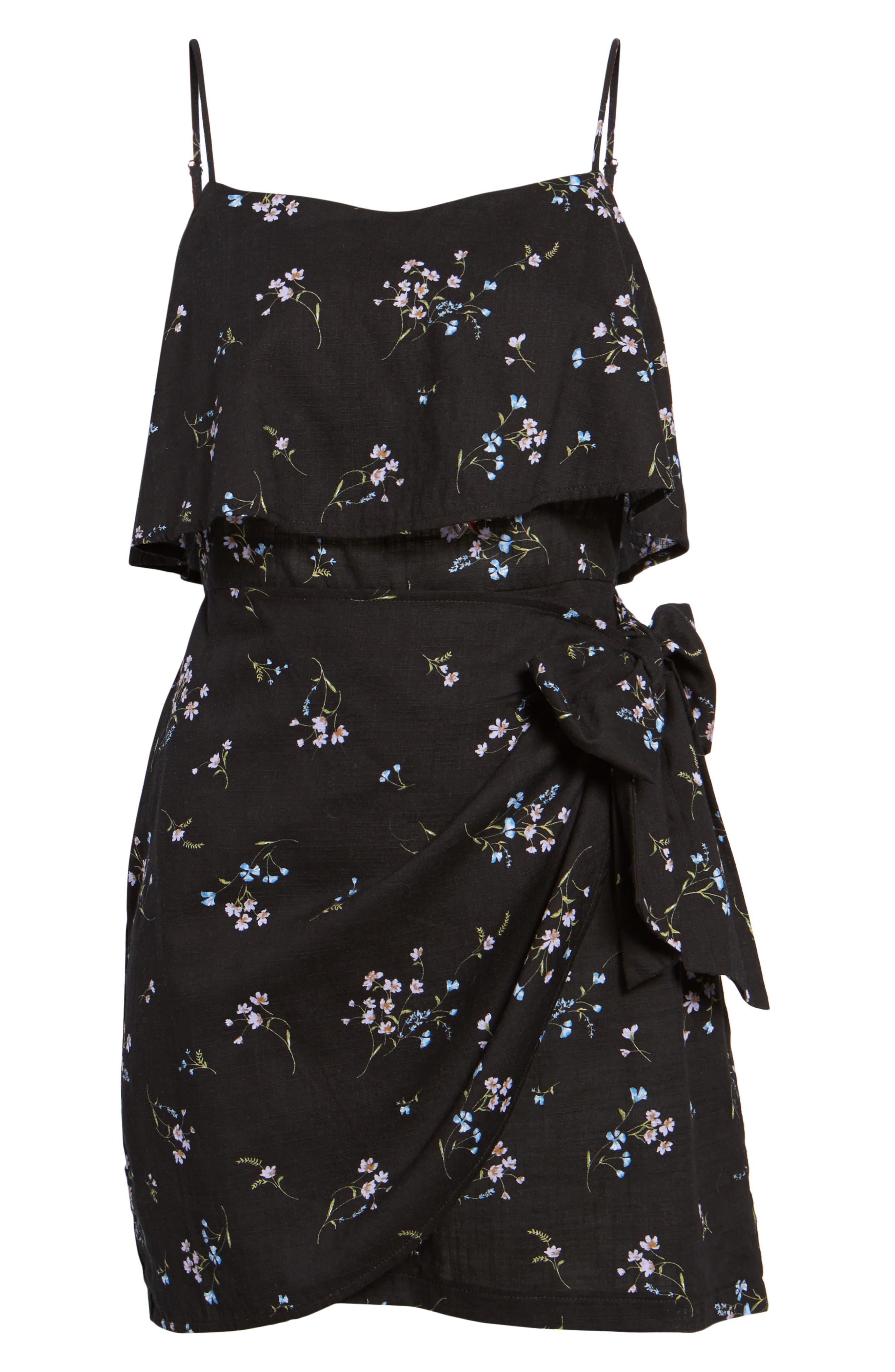 Popover Wrap Front Dress,                             Alternate thumbnail 6, color,                             Black Floral