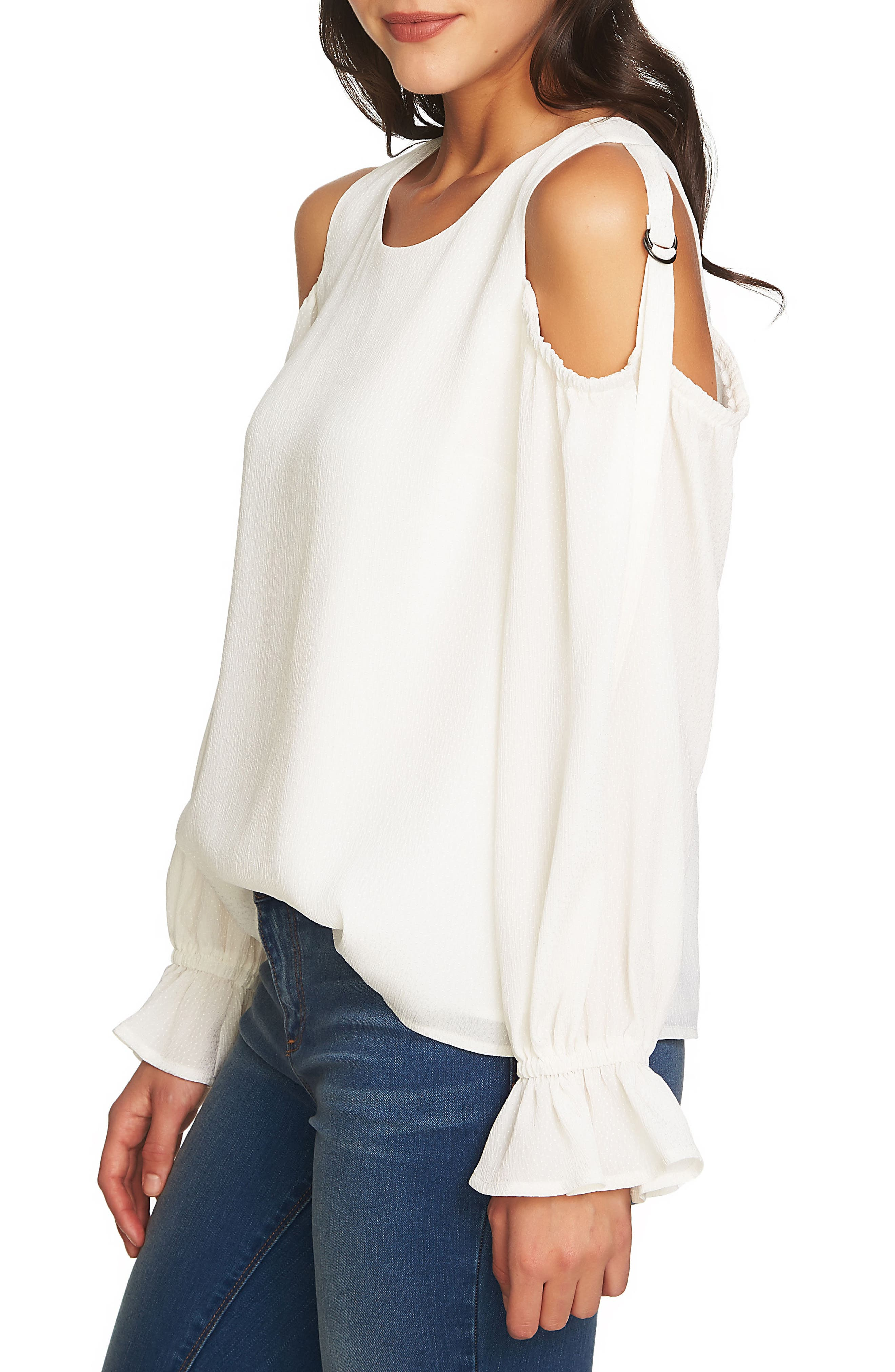 Blouson Sleeve Cold Shoulder Top,                             Main thumbnail 1, color,                             New Ivory