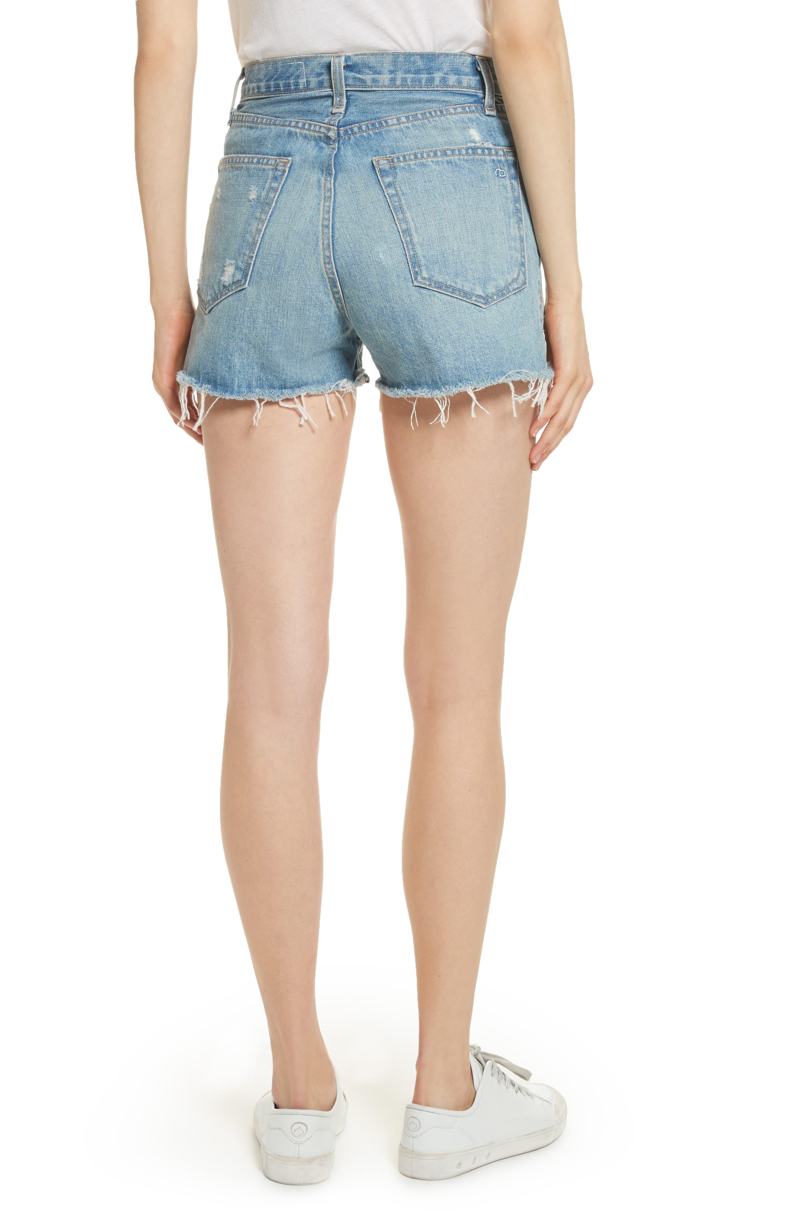 Alternate Image 2  - rag & bone/JEAN Justine High Waist Cutoff Denim Shorts (Duffs)