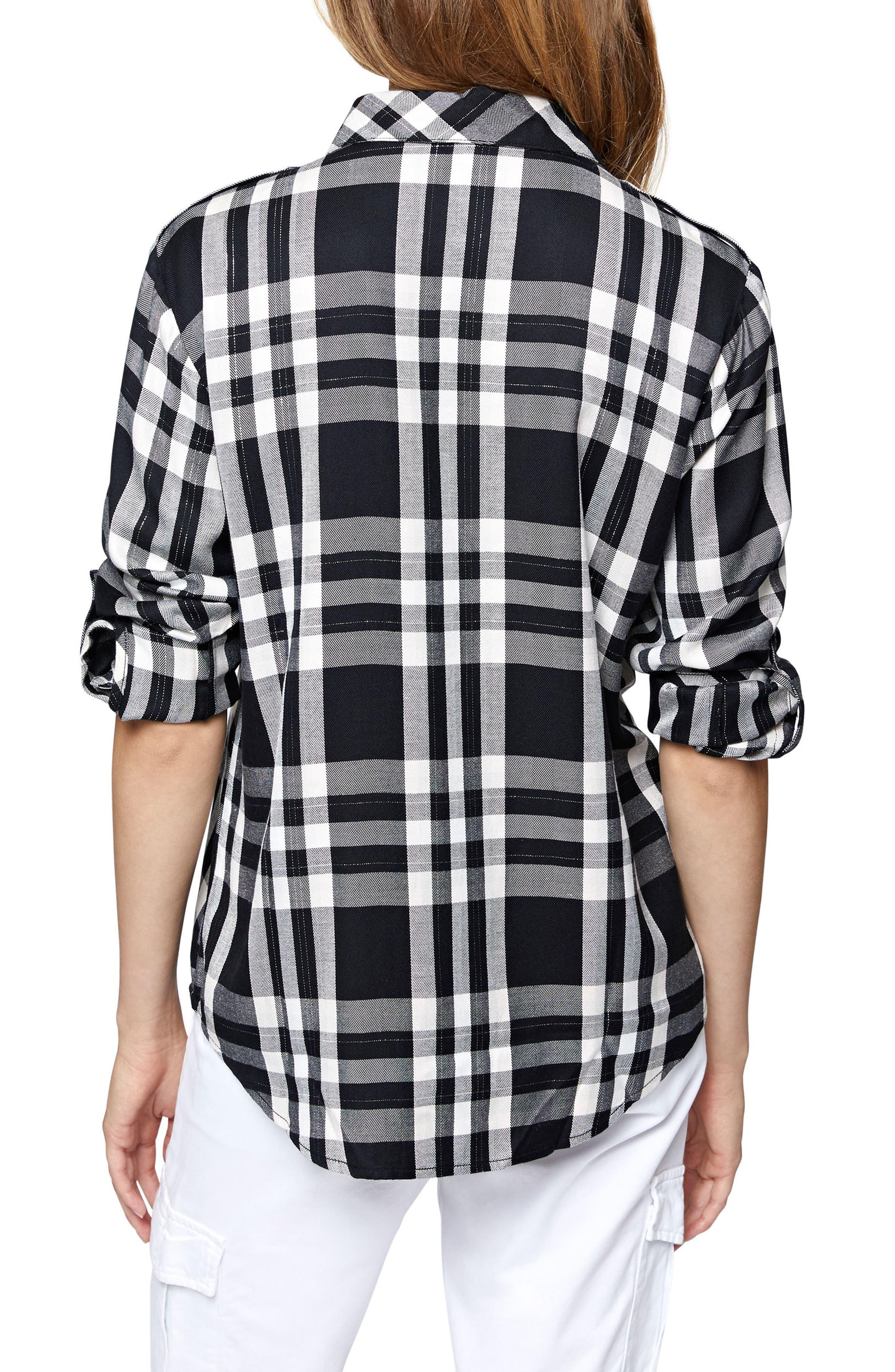 Plaid Boyfriend Shirt,                             Alternate thumbnail 2, color,                             Silver Rose Plaid