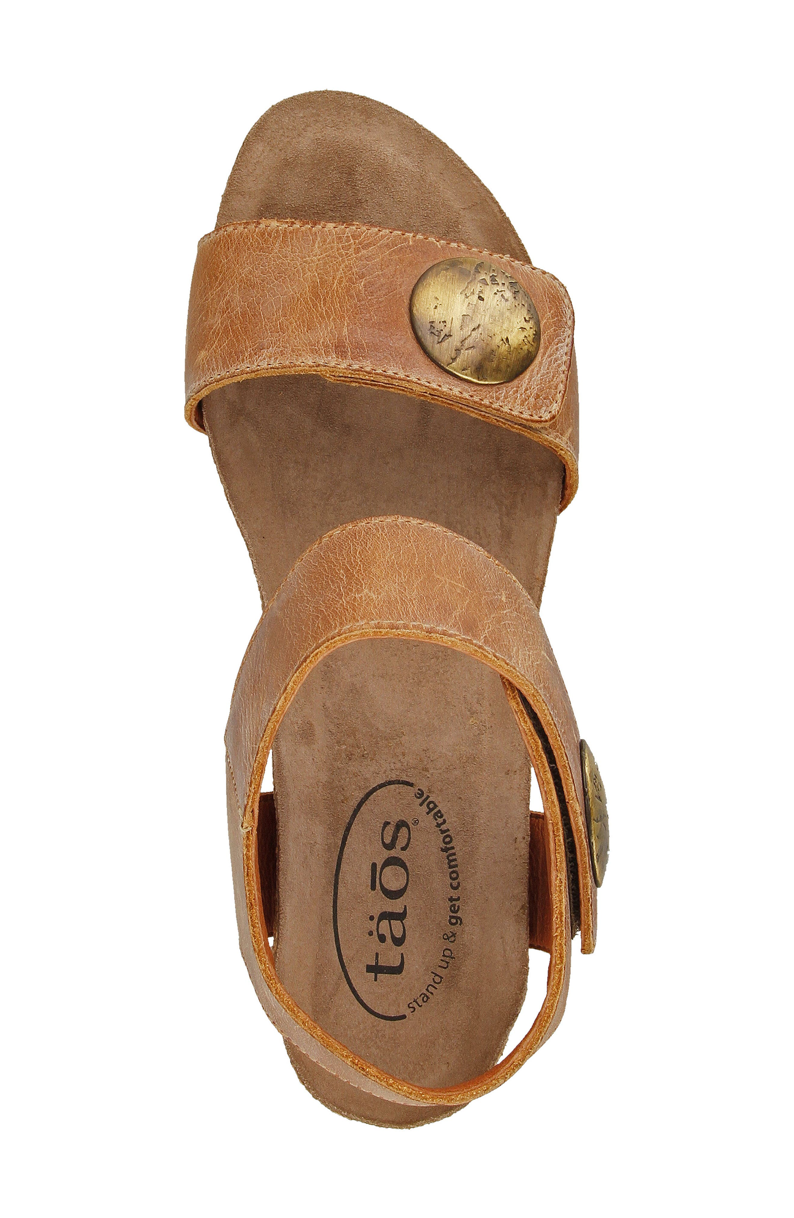 'Carousel 2' Wedge Sandal,                             Alternate thumbnail 4, color,                             Camel Suede