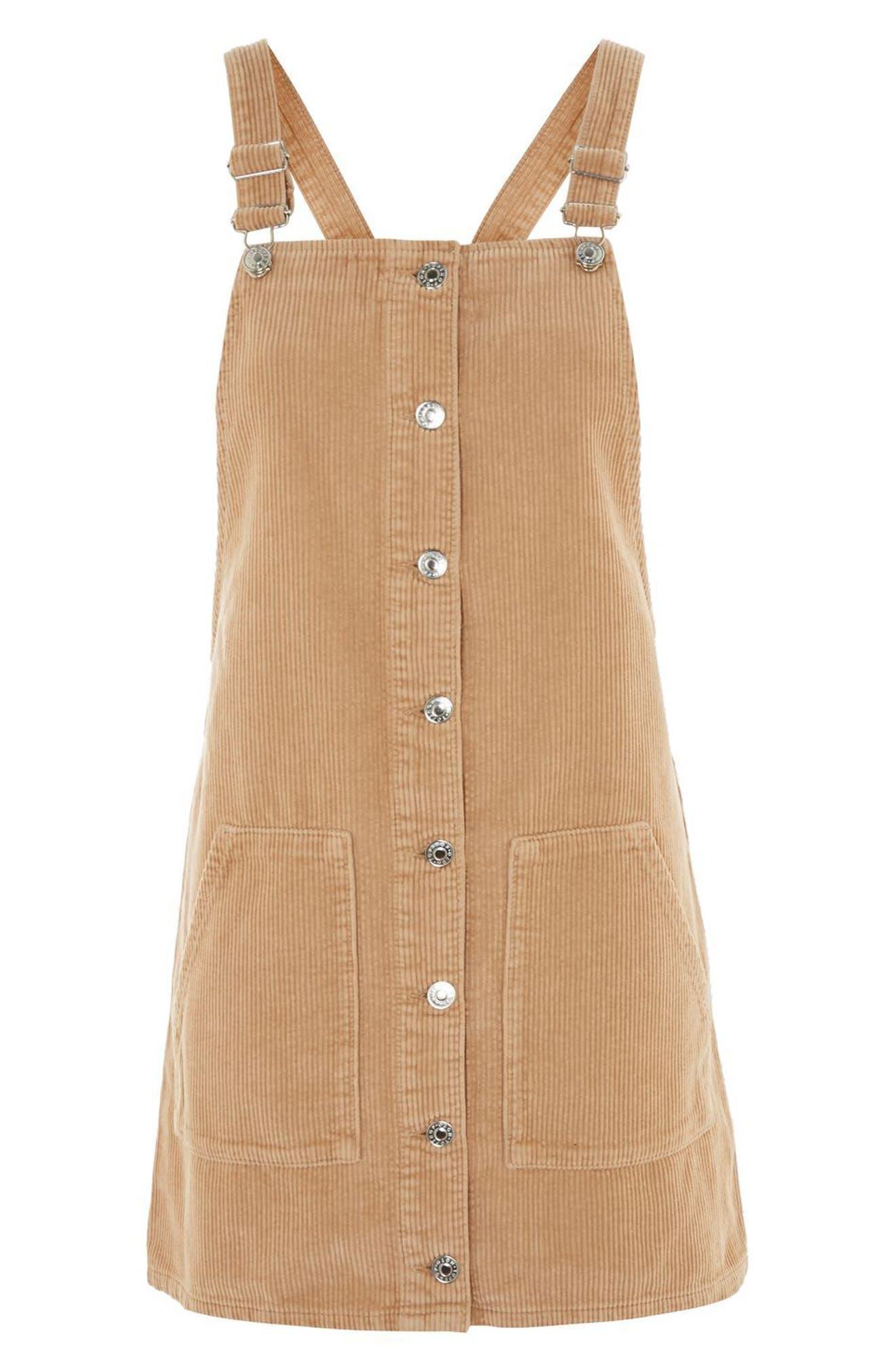Button Front Corduroy Pinafore Dress,                             Alternate thumbnail 4, color,                             Stone