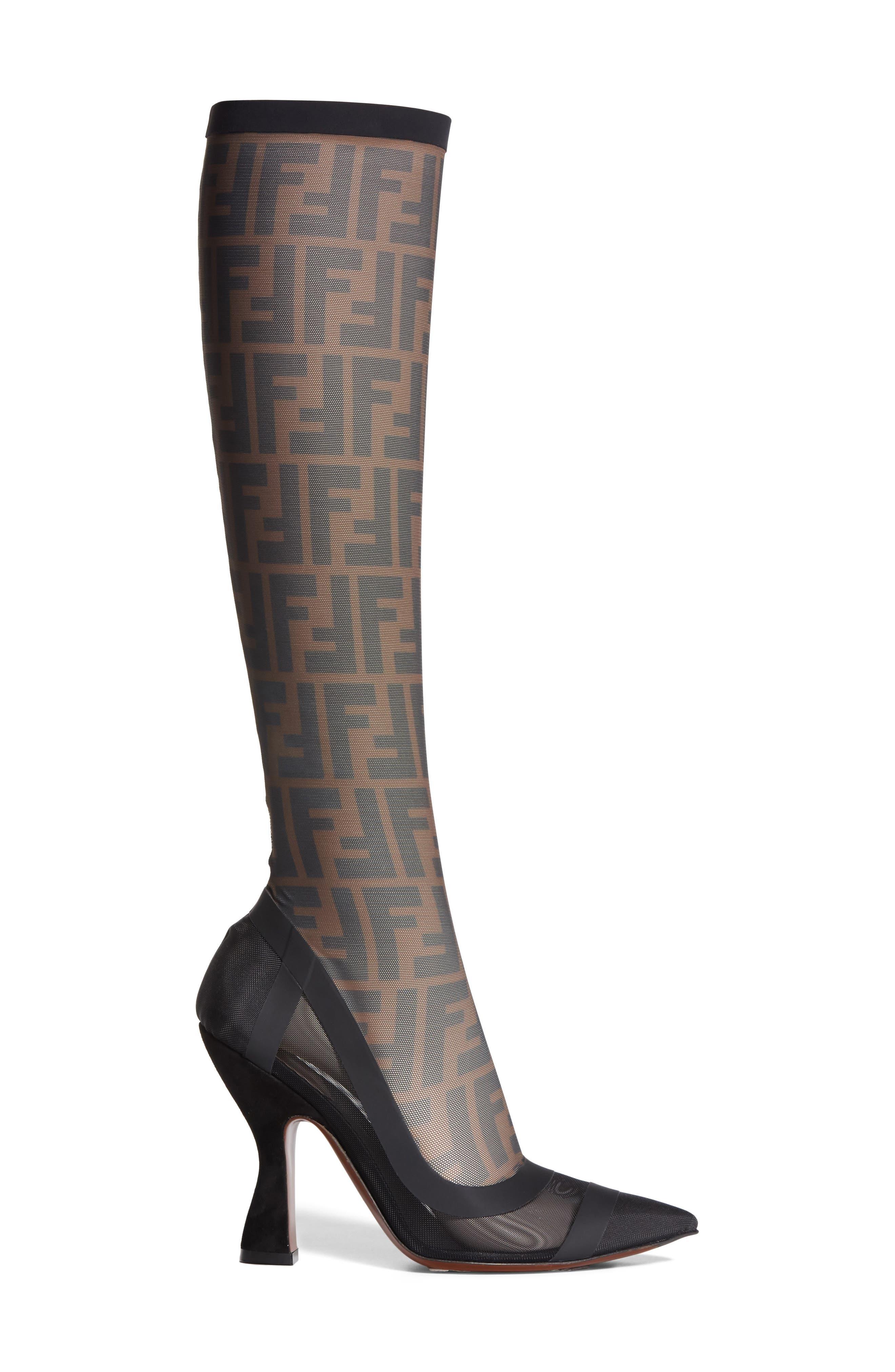 Alternate Image 4  - Fendi Logo Sock Pointy Toe Pump (Women)