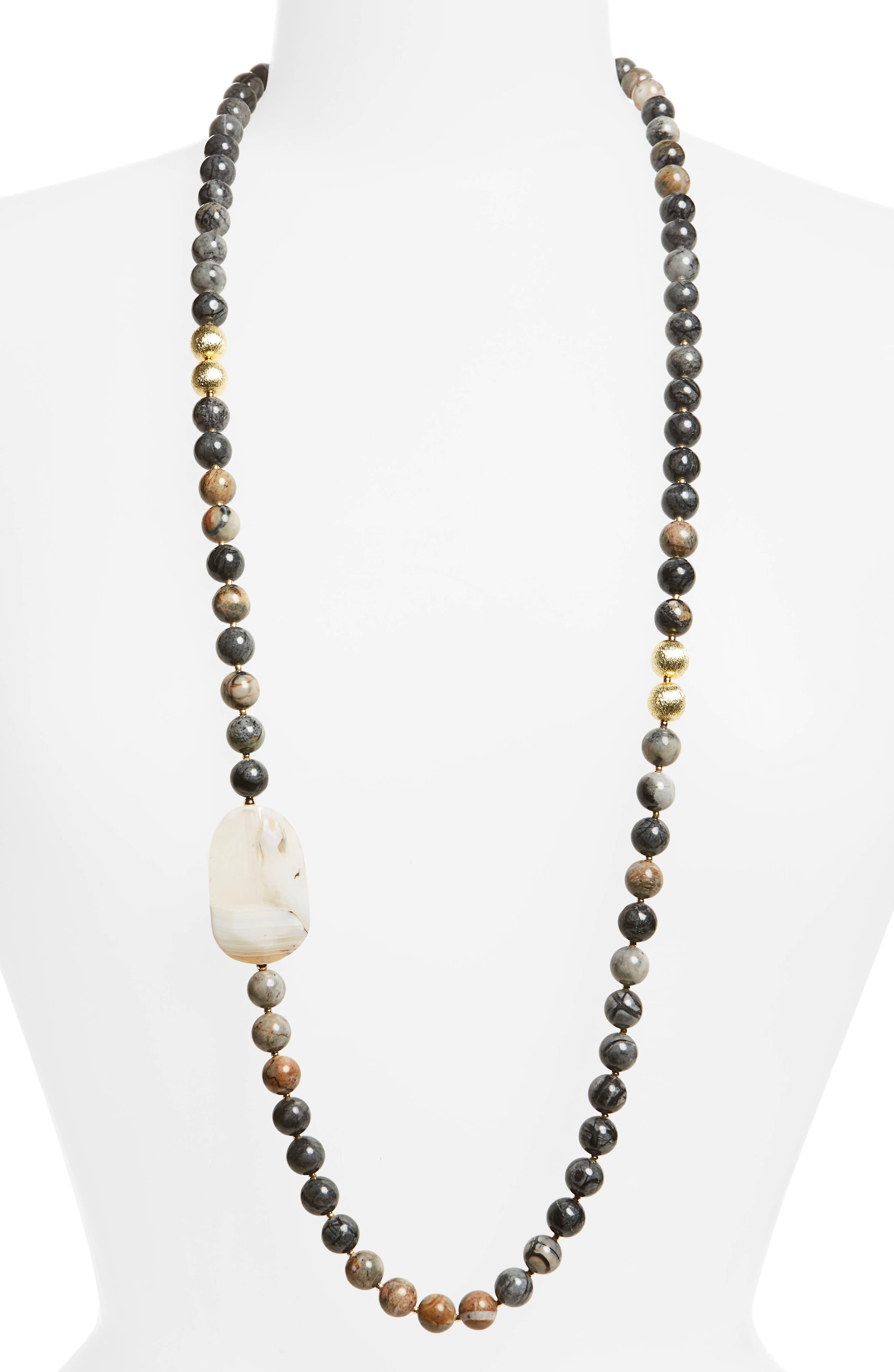 Love's Affect Addison Semiprecious Station Necklace,                         Main,                         color, Brown Multi