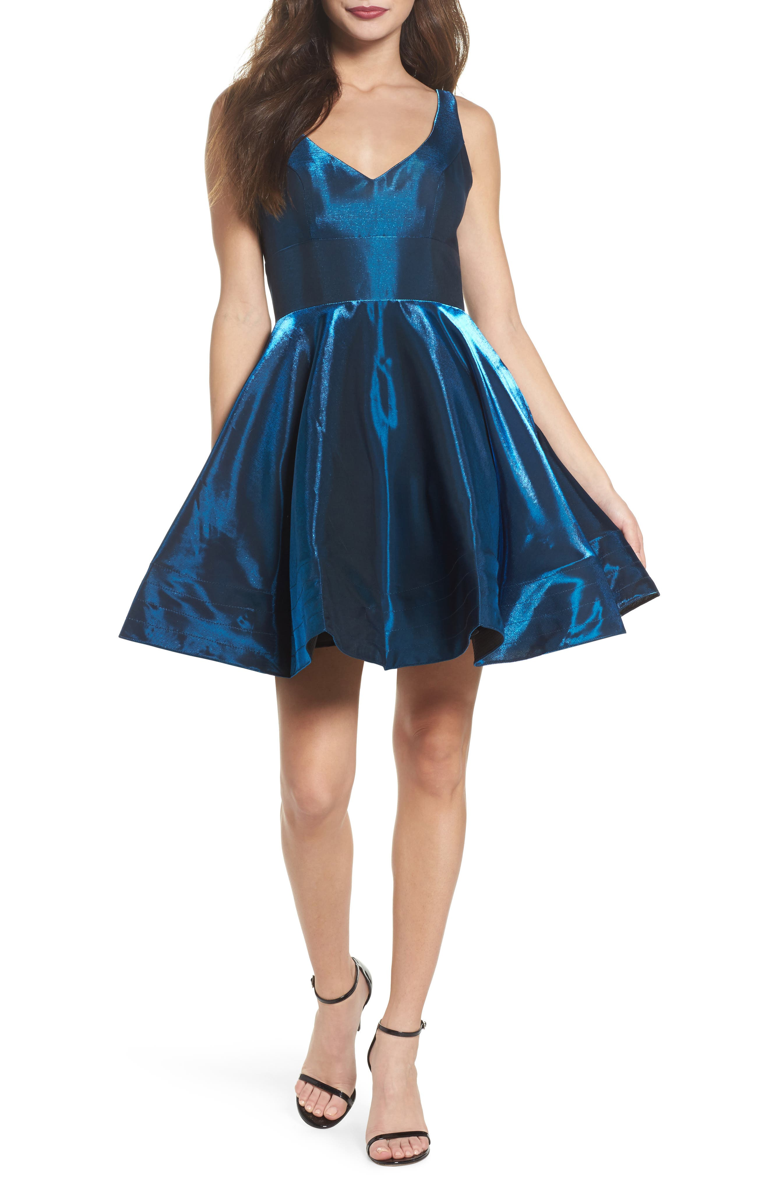 Shimmer Fit & Flare Dress,                             Main thumbnail 1, color,                             Sapphire/ Diamond