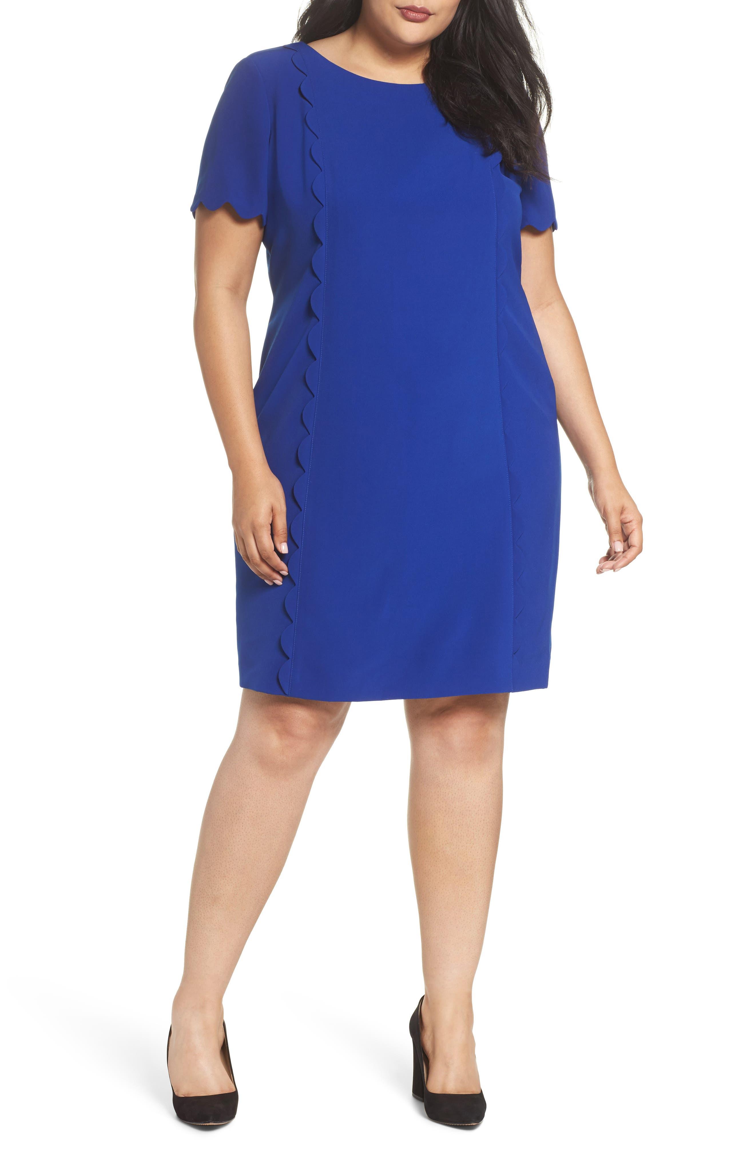 Scalloped Trim Shift Dress,                         Main,                         color, Lapis