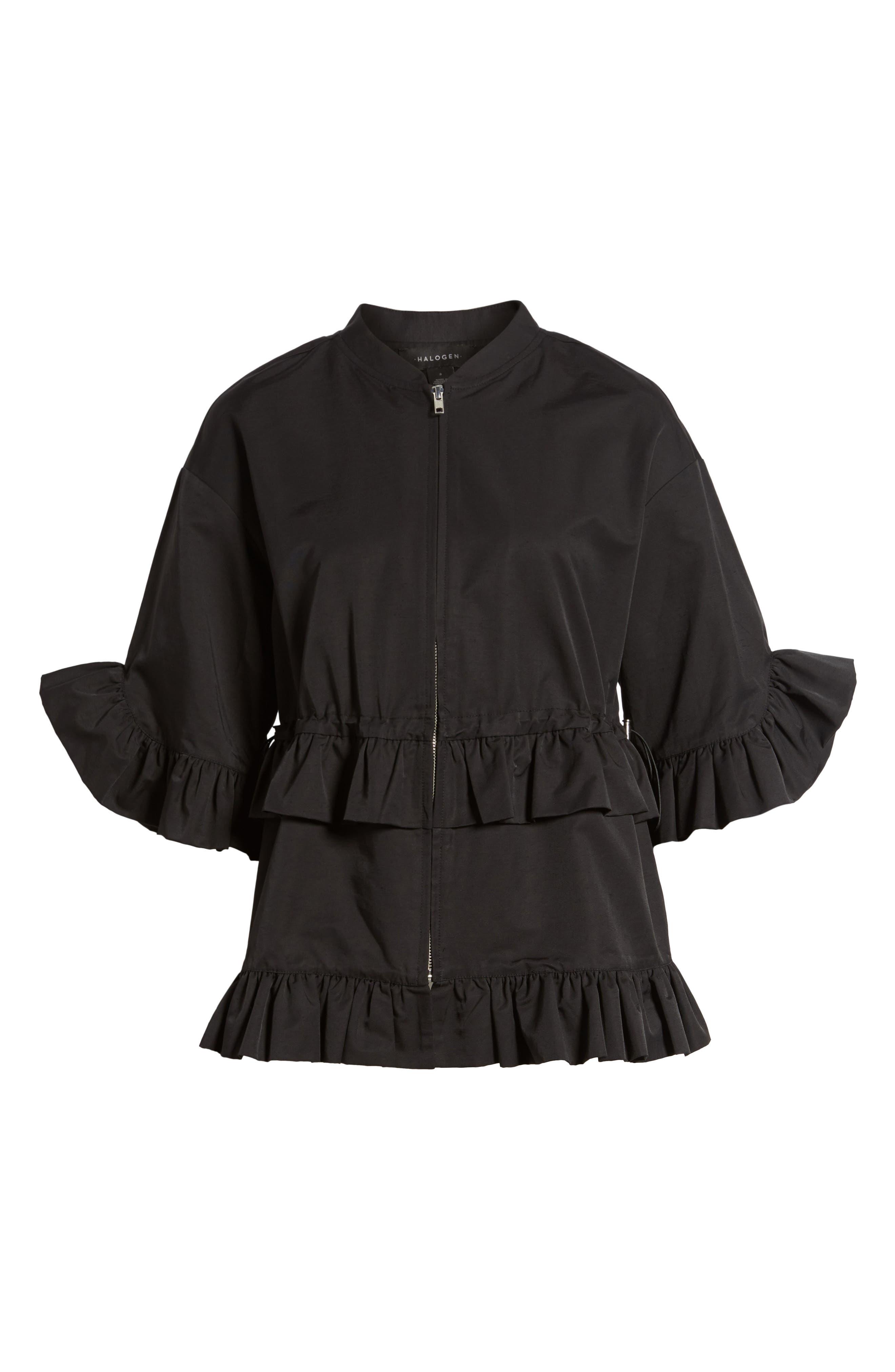 Alternate Image 6  - Halogen® Ruffle Zip Jacket (Regular & Petite)