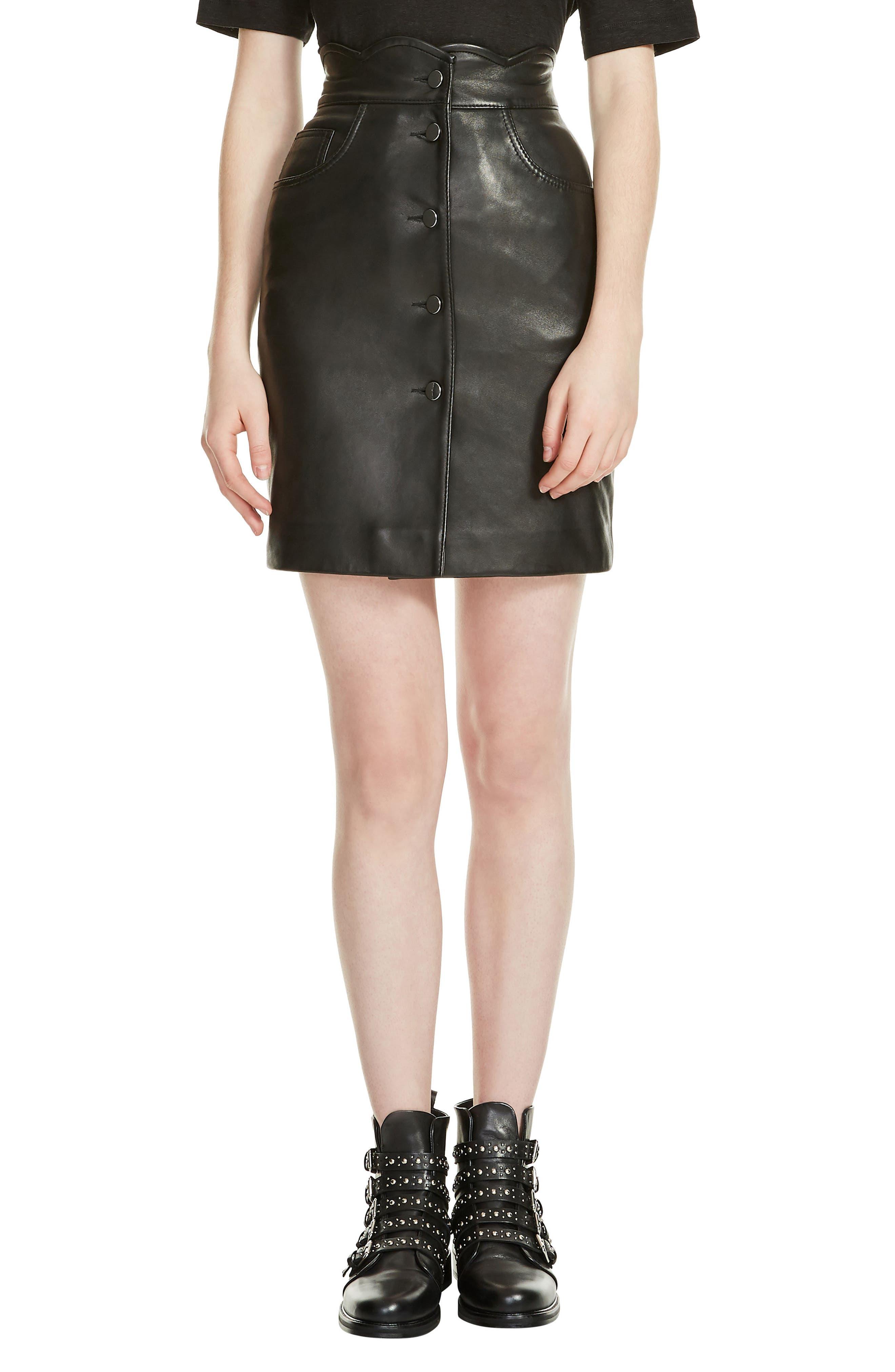 Journey Leather Miniskirt,                             Main thumbnail 1, color,                             Black 210