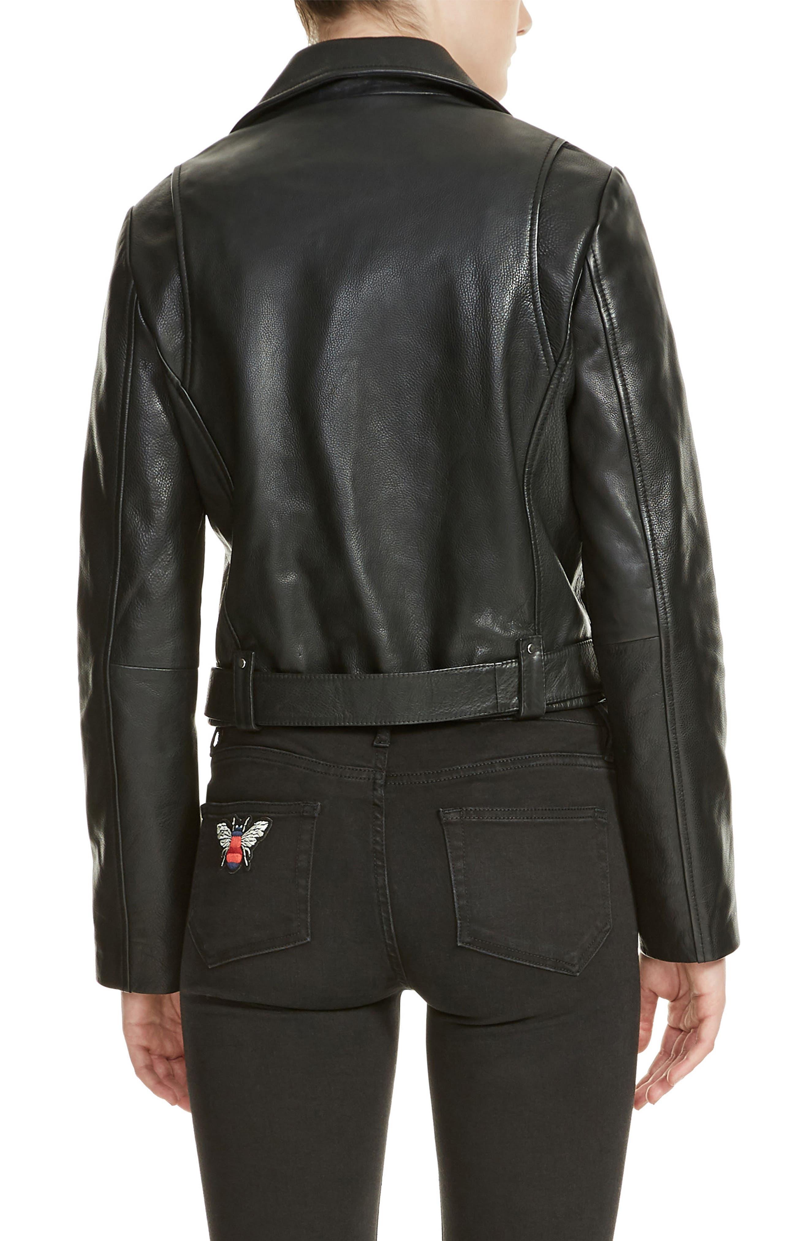 Bassung Leather Moto Jacket,                             Alternate thumbnail 2, color,                             Black 210