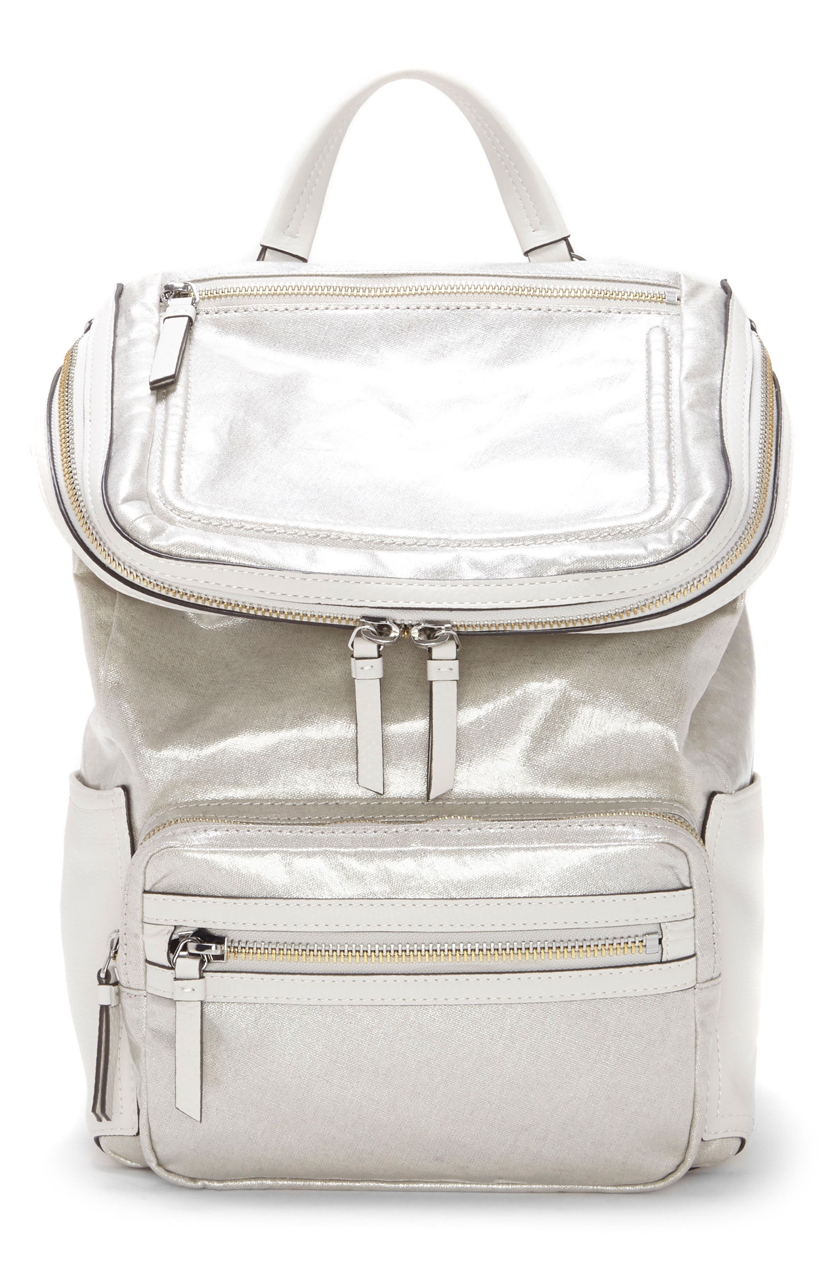 Patch NYL Leather & Nylon Backpack,                         Main,                         color, Silver