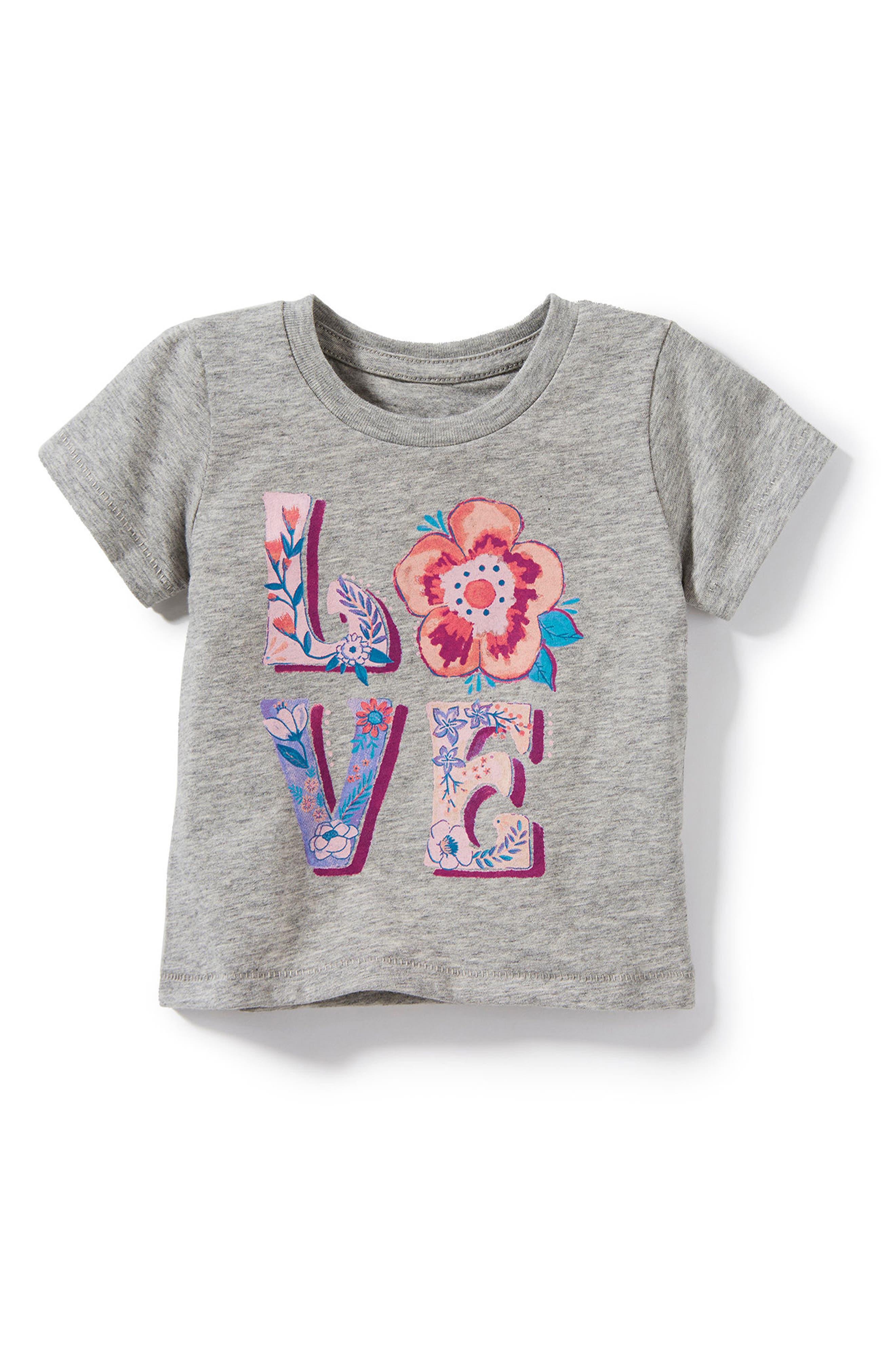 Love Graphic Tee,                         Main,                         color, Heather Grey