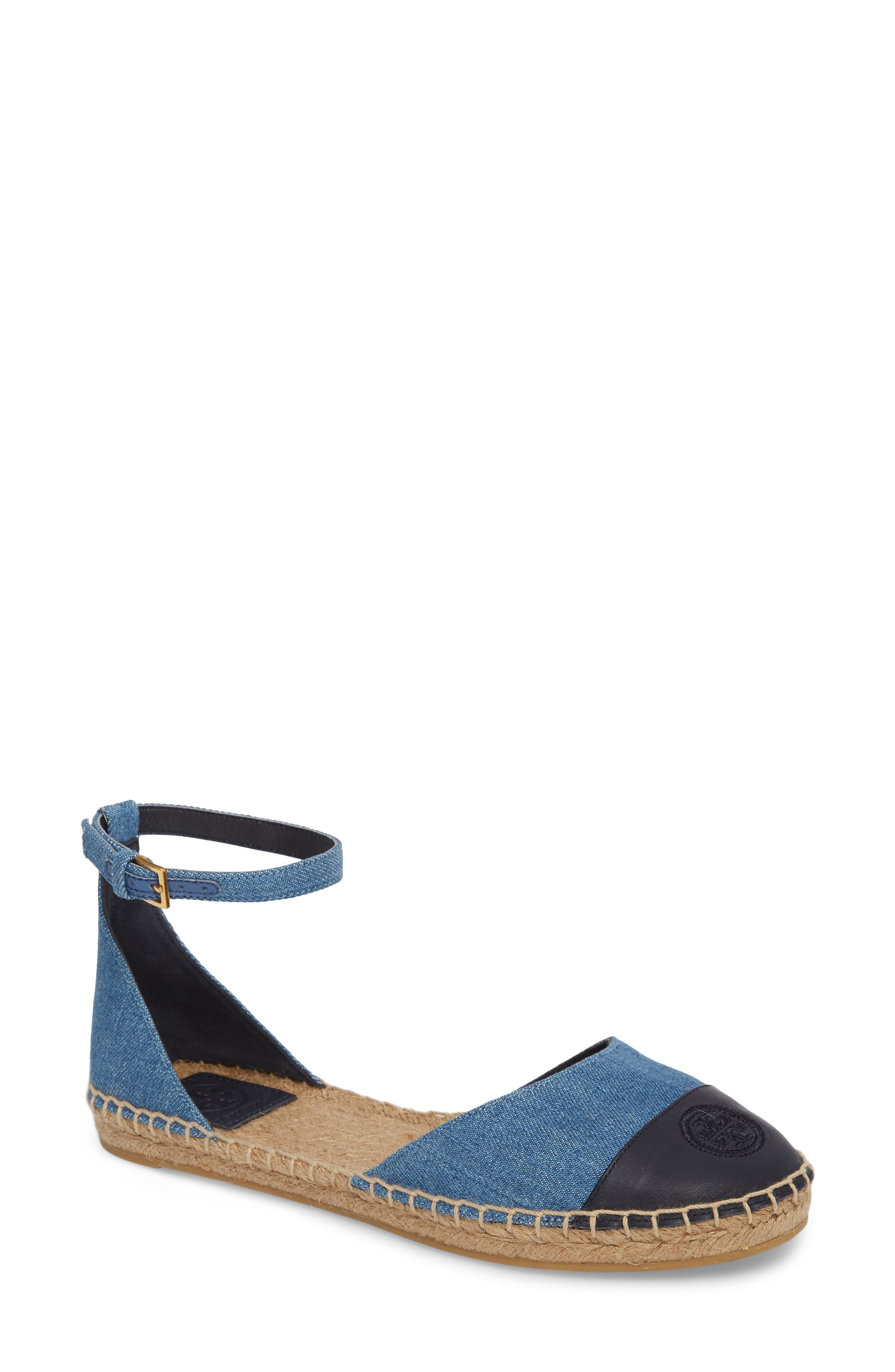 Ankle Strap Espadrille,                             Main thumbnail 1, color,                             Denim Chambray/ Perfect Navy