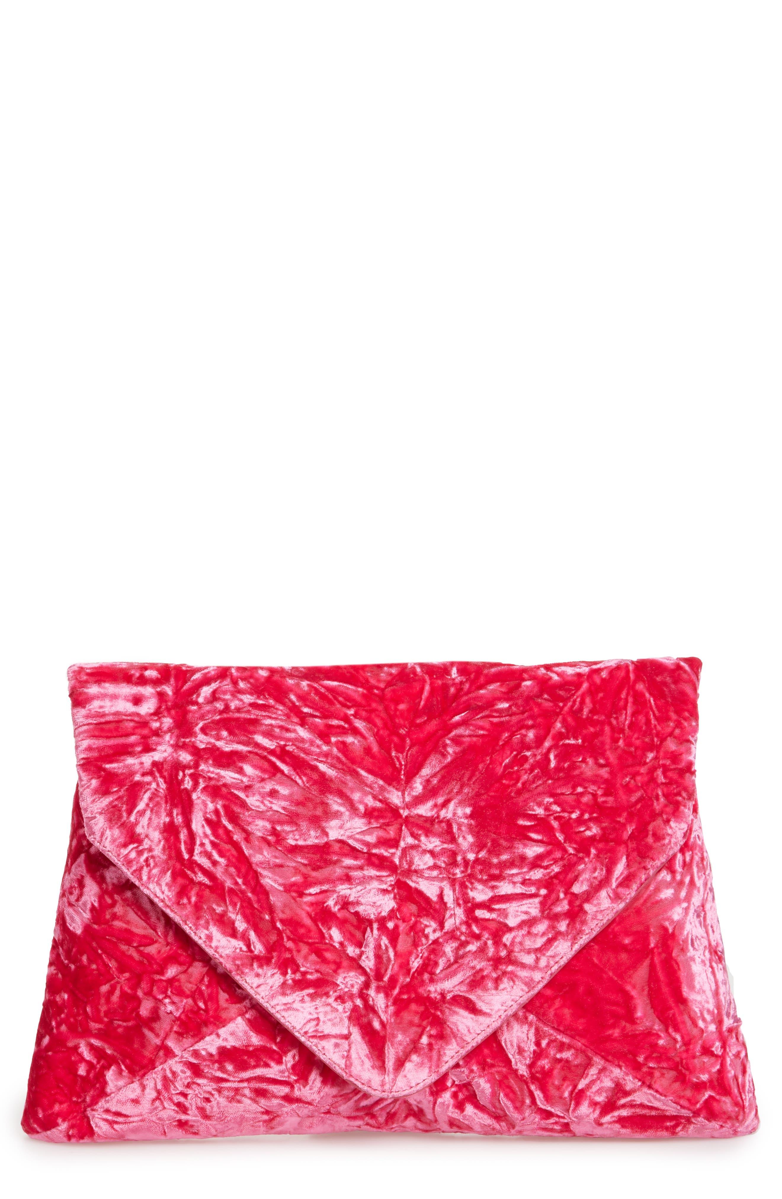 Velvet Envelope Clutch,                             Main thumbnail 1, color,                             Fushia