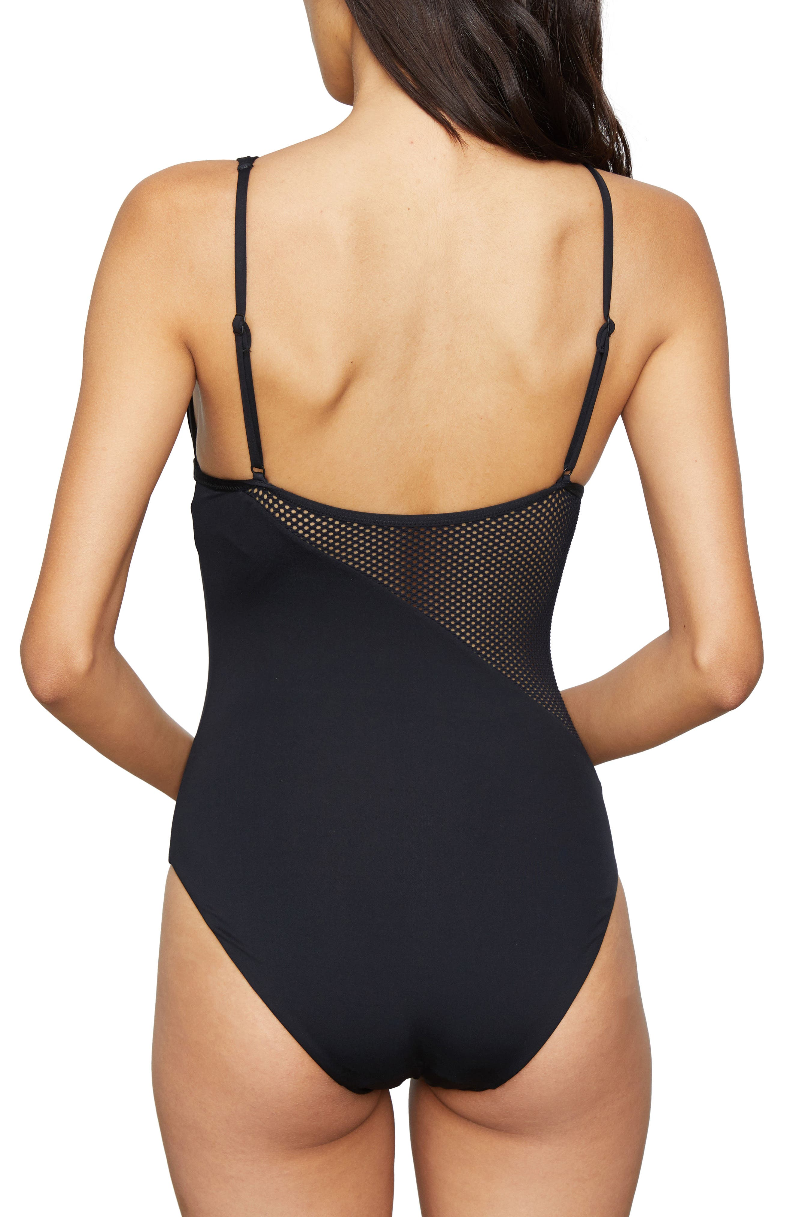 Asymmetrical Mesh One-Piece Swimsuit,                             Alternate thumbnail 2, color,                             Black