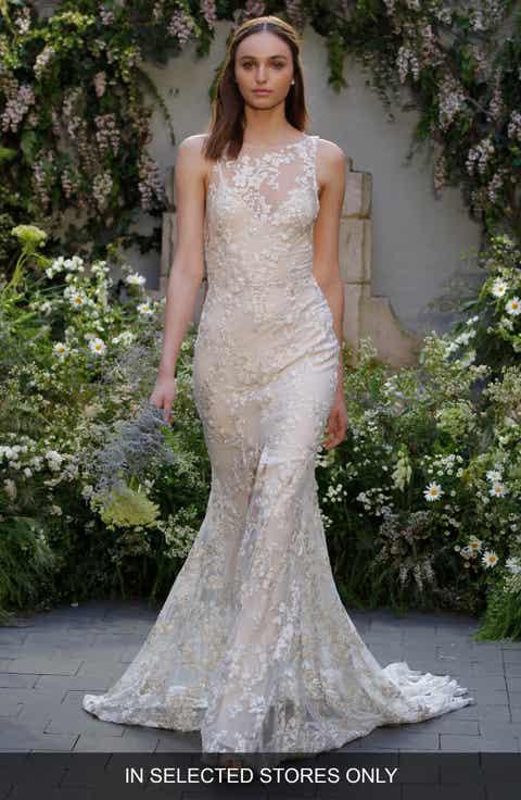 Monique Lhuillier Indigo Embroidered Sleeveless Gown