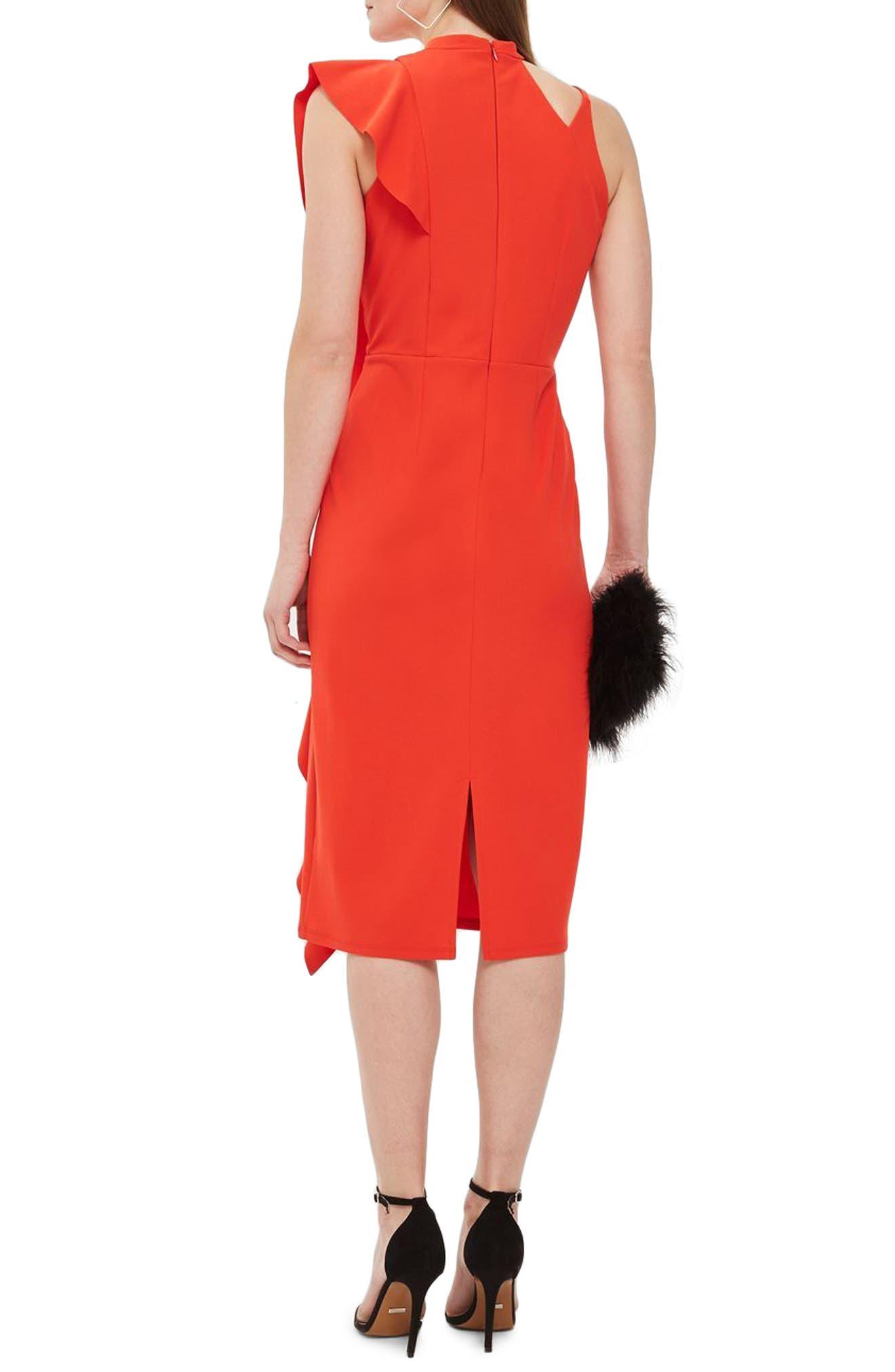 Asymmetrical Ruffle Midi Dress,                             Alternate thumbnail 2, color,                             Red