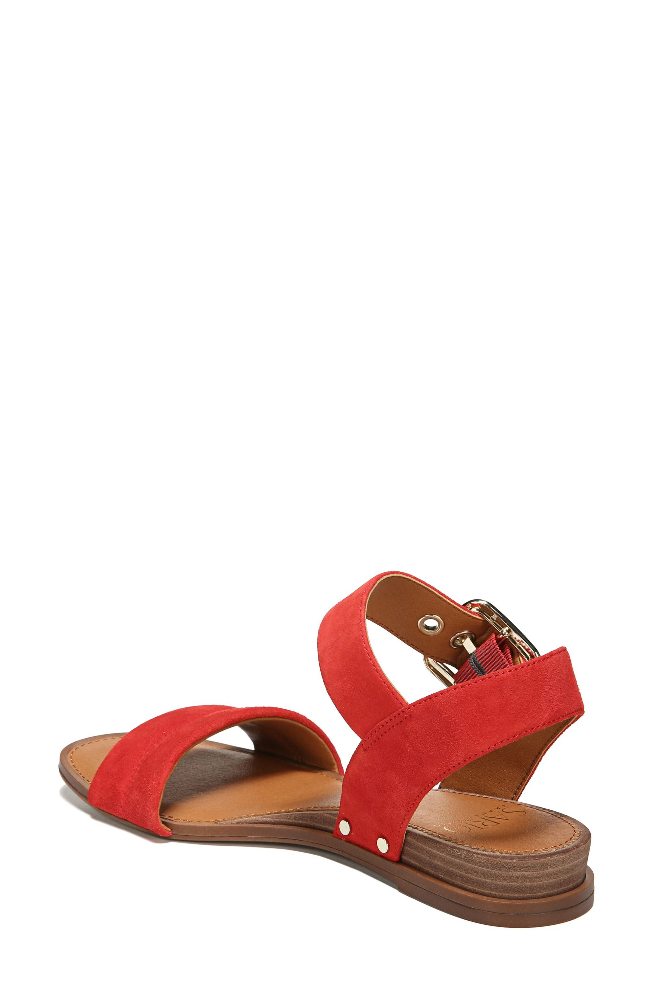 Patterson Low Wedge Sandal,                             Alternate thumbnail 2, color,                             Pop Red Suede