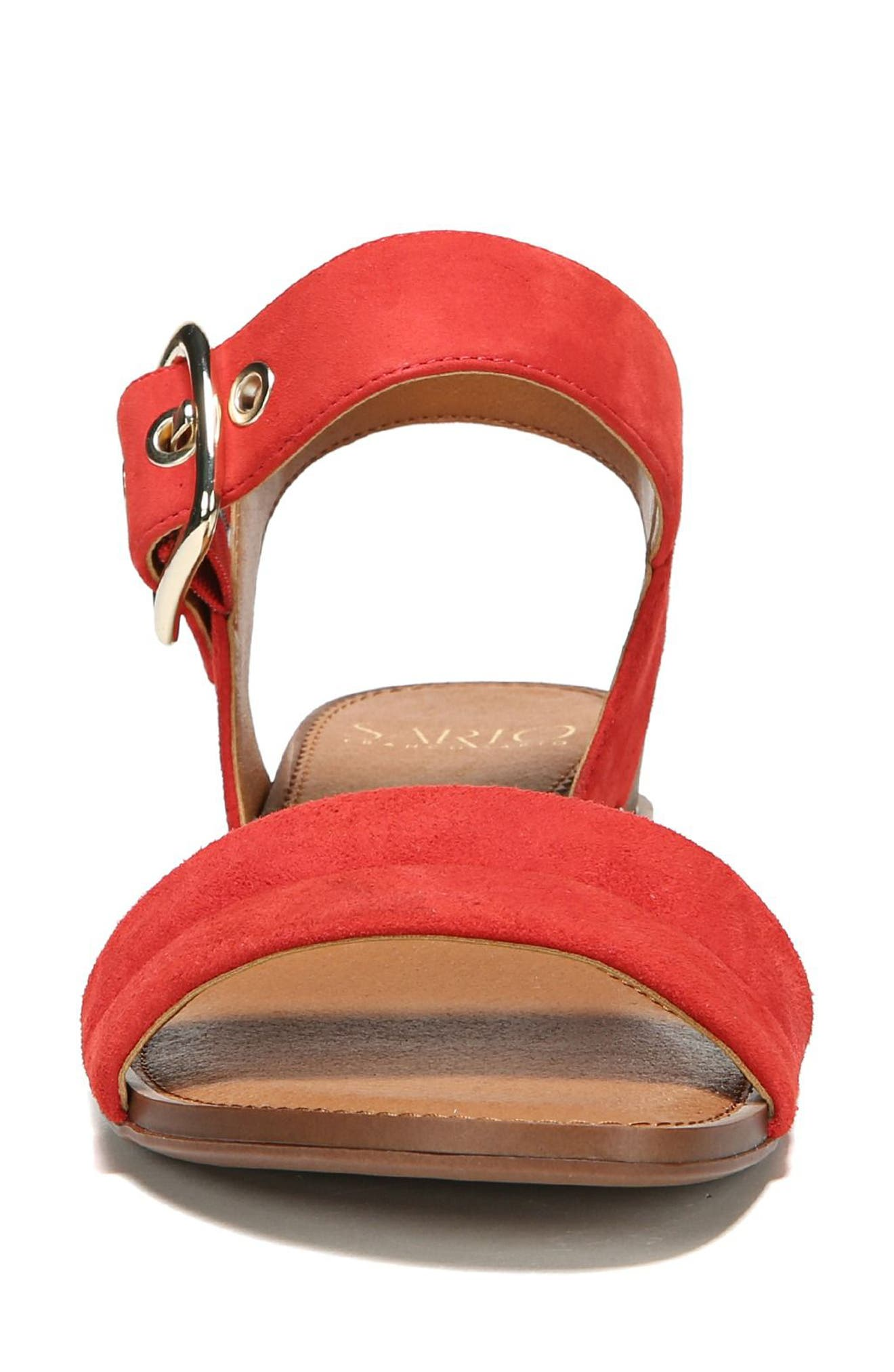 Patterson Low Wedge Sandal,                             Alternate thumbnail 4, color,                             Pop Red Suede