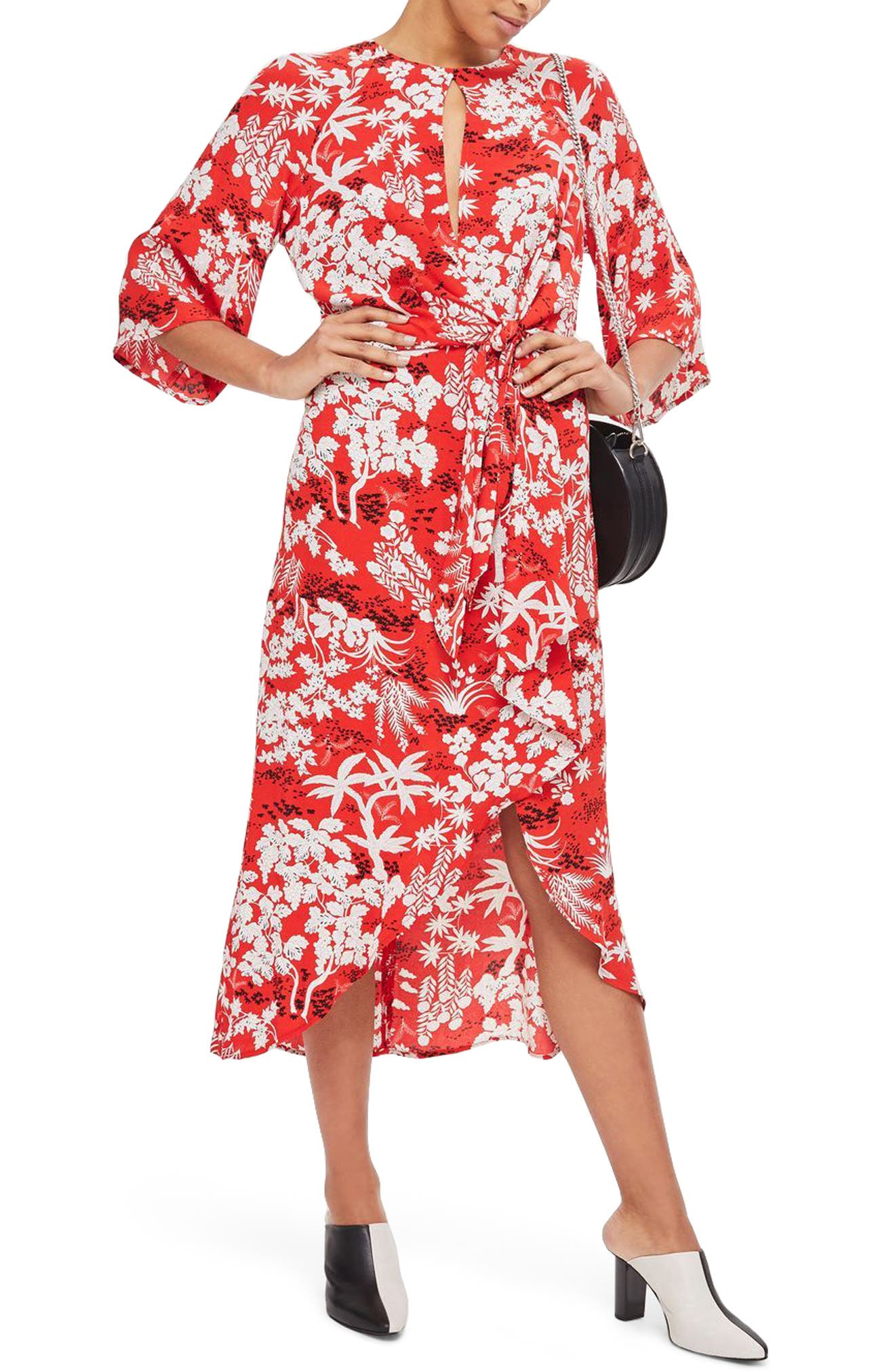 Knotted Midi Dress,                         Main,                         color, Red Multi
