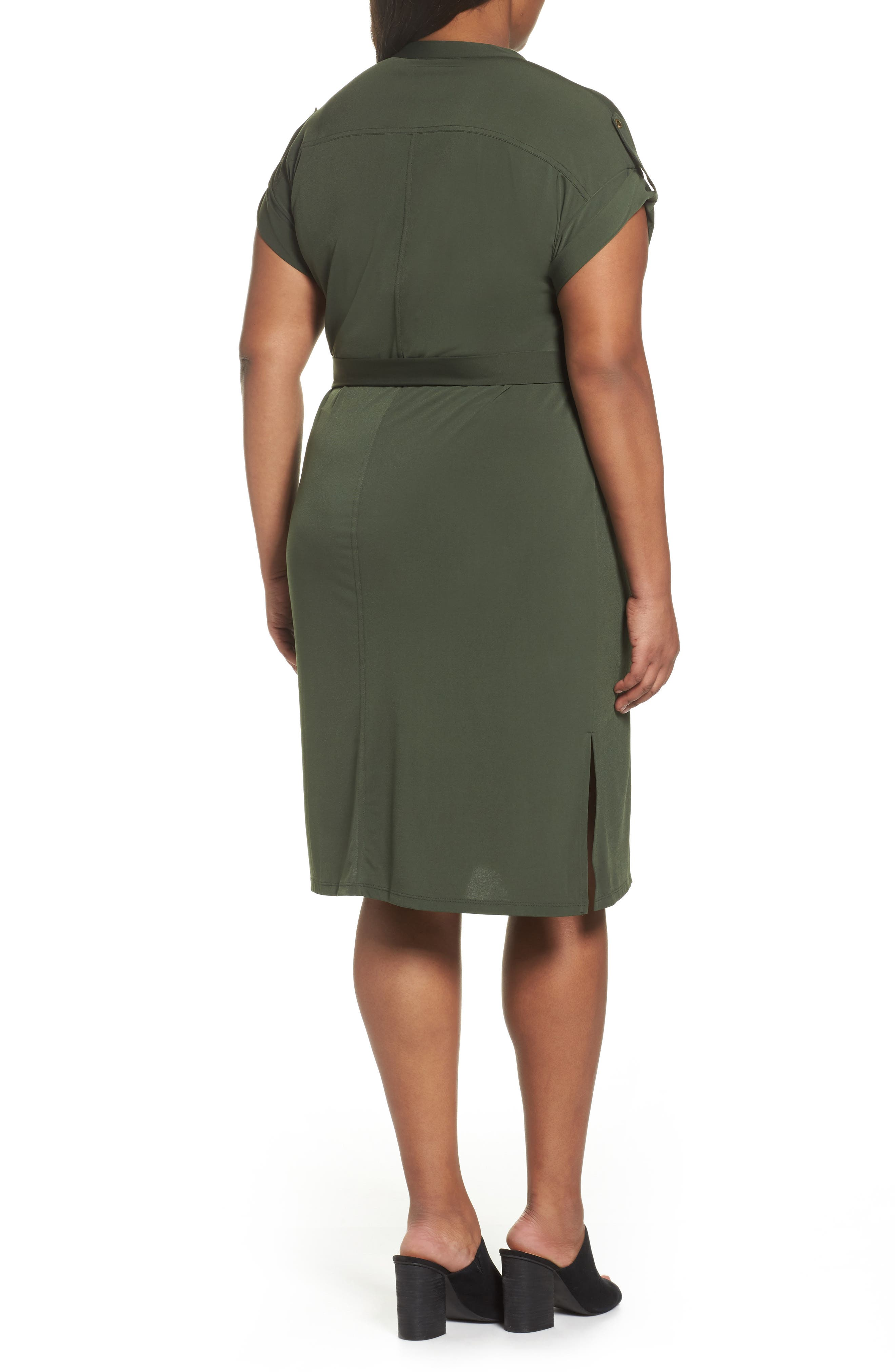 Matte Jersey Maxi Shirtdress,                             Alternate thumbnail 2, color,                             Ivy
