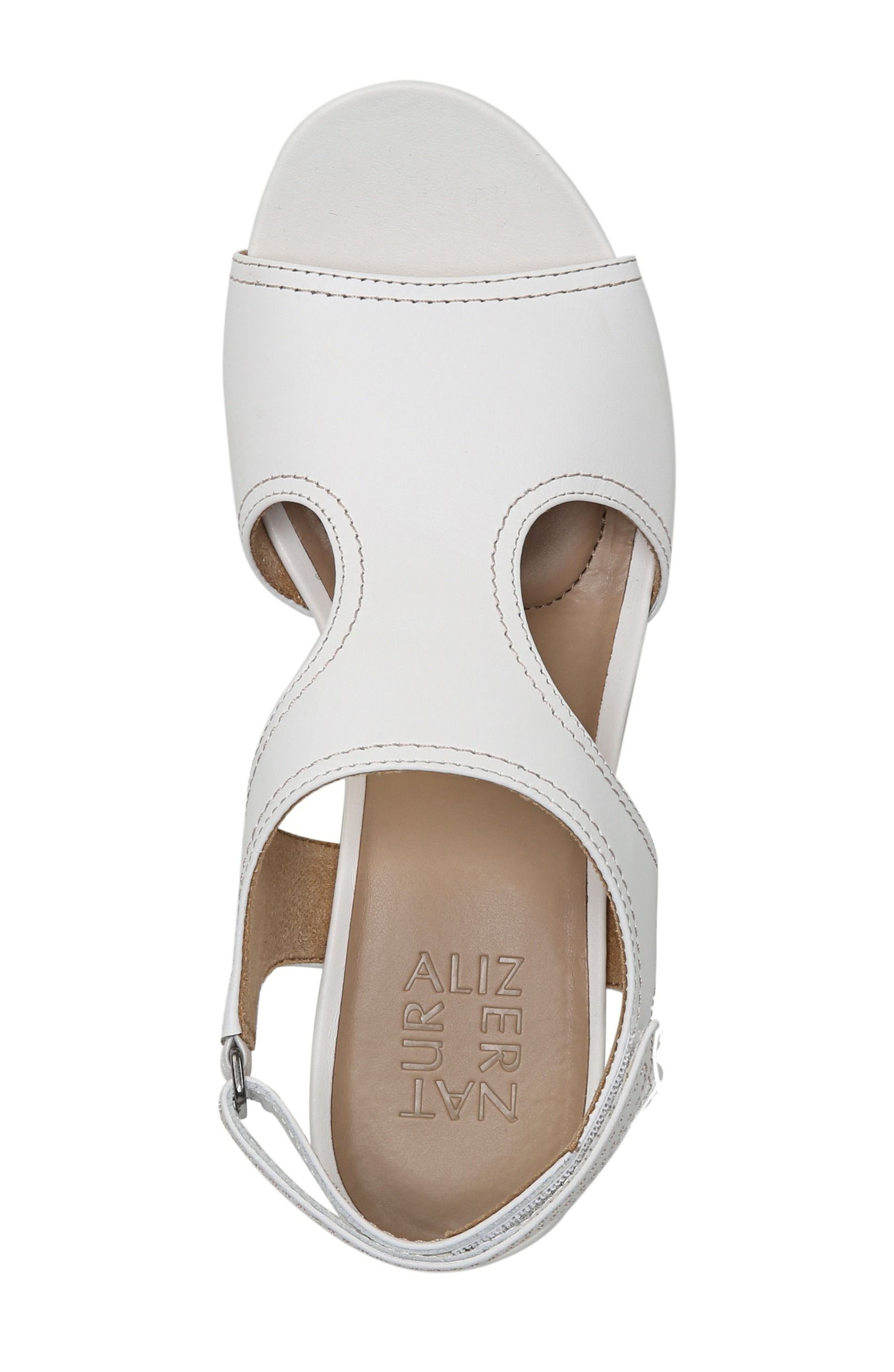 Cinda Wedge Sandal,                             Alternate thumbnail 5, color,                             White Leather