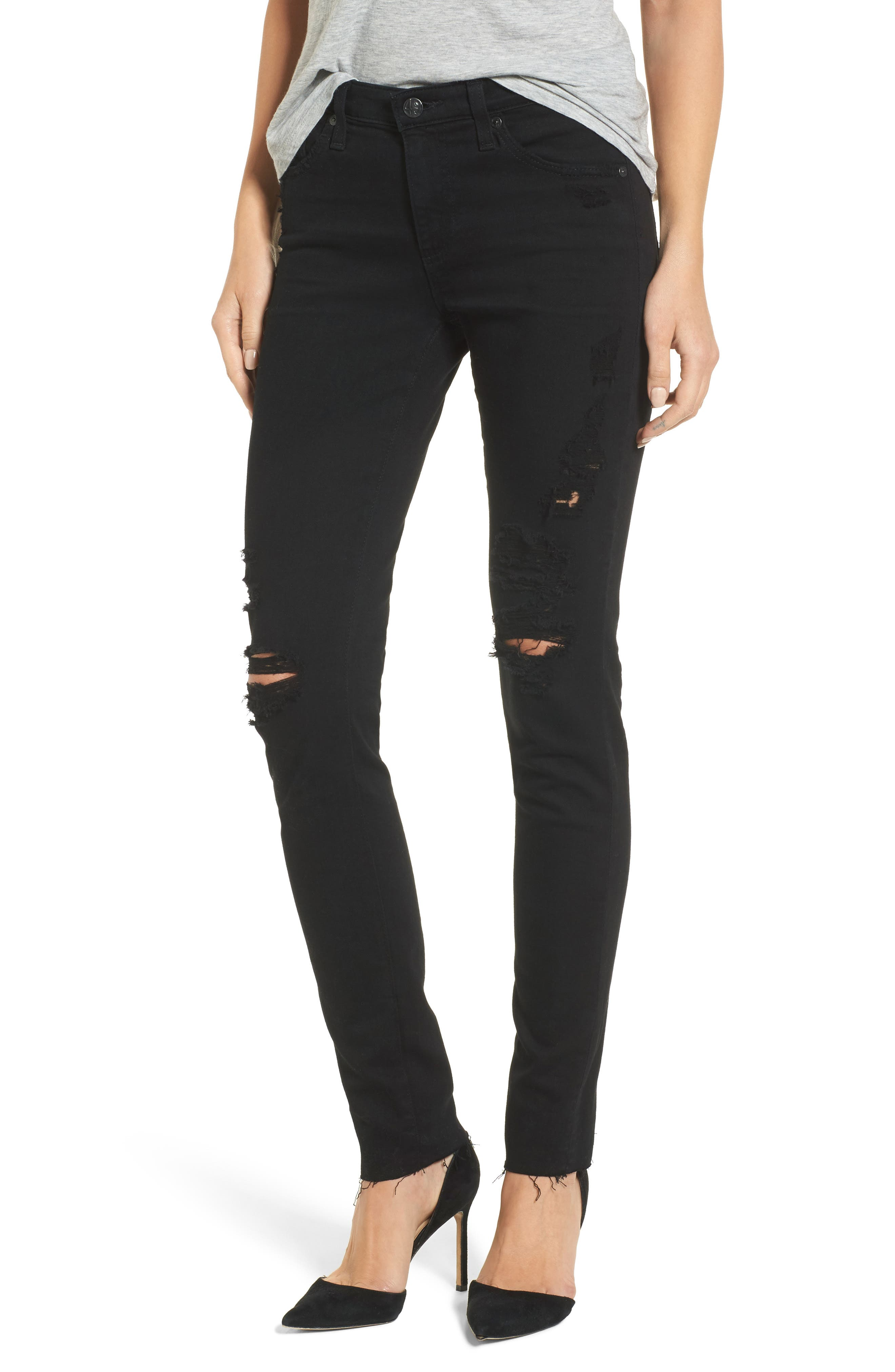 Prima Mid Rise Cigarette Jeans,                             Main thumbnail 1, color,                             5 Years Black Destructed