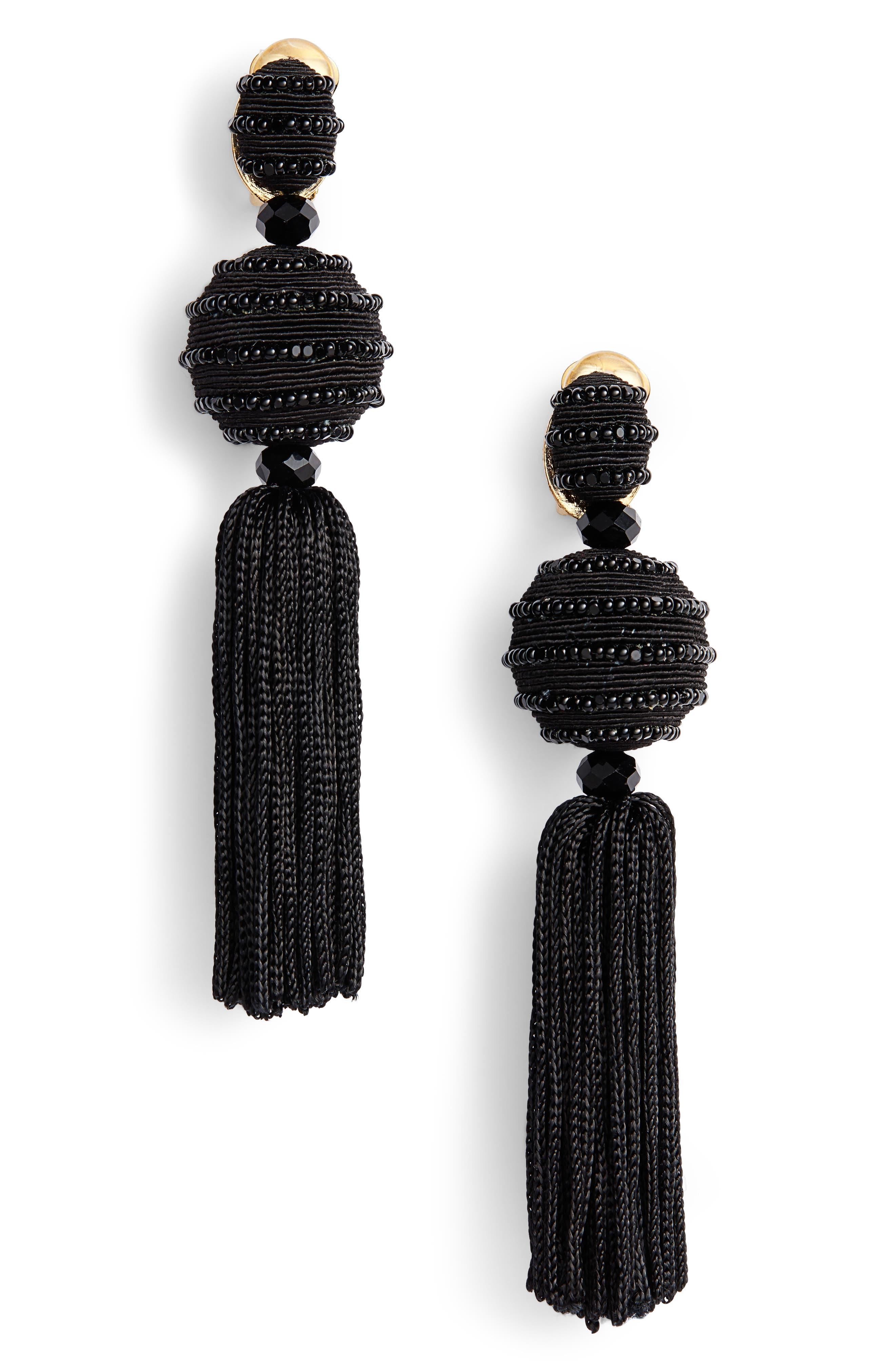 Beaded Drop Earrings,                             Main thumbnail 1, color,                             Black