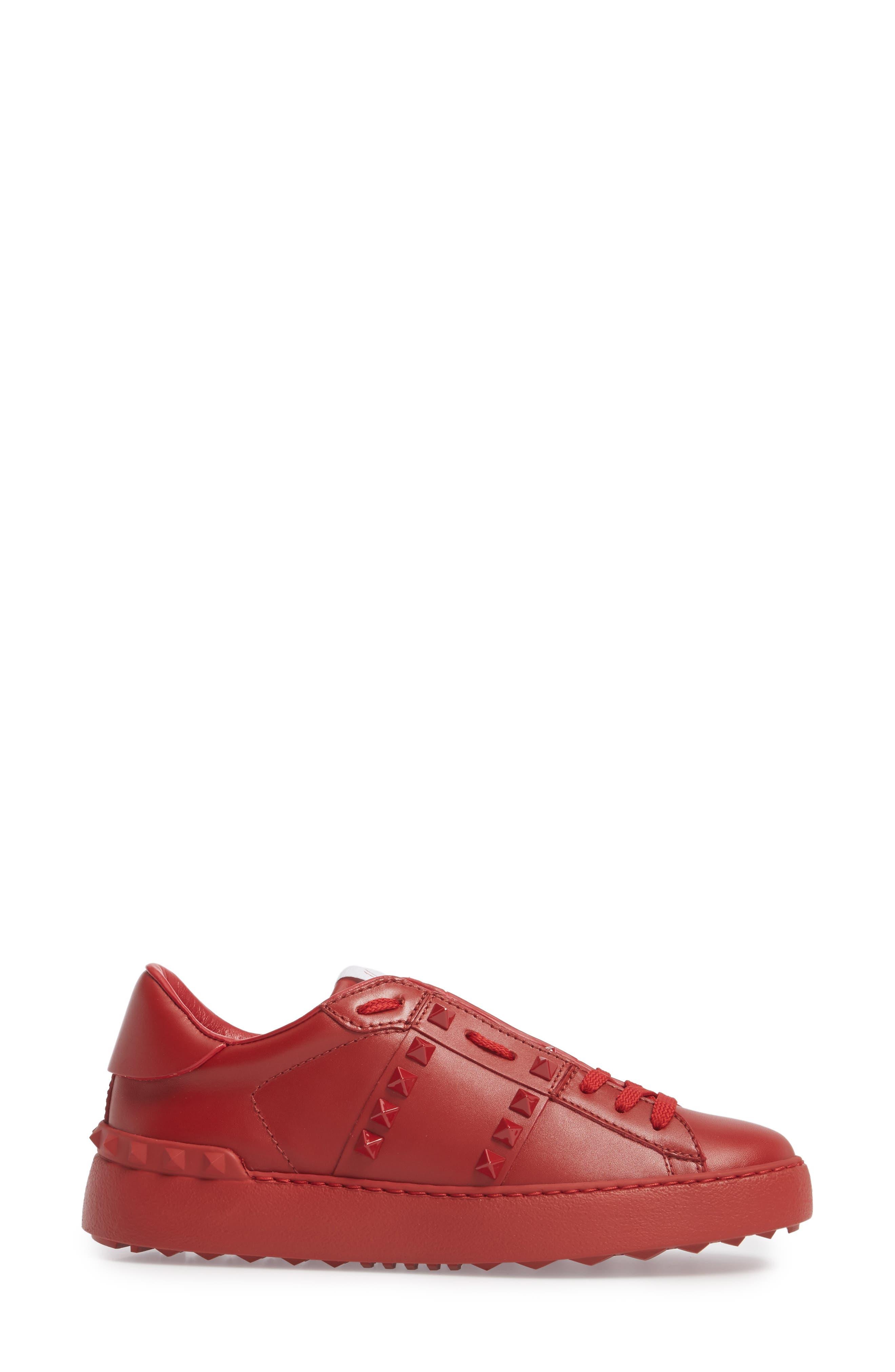 Rockstud Sneaker,                             Alternate thumbnail 3, color,                             Red