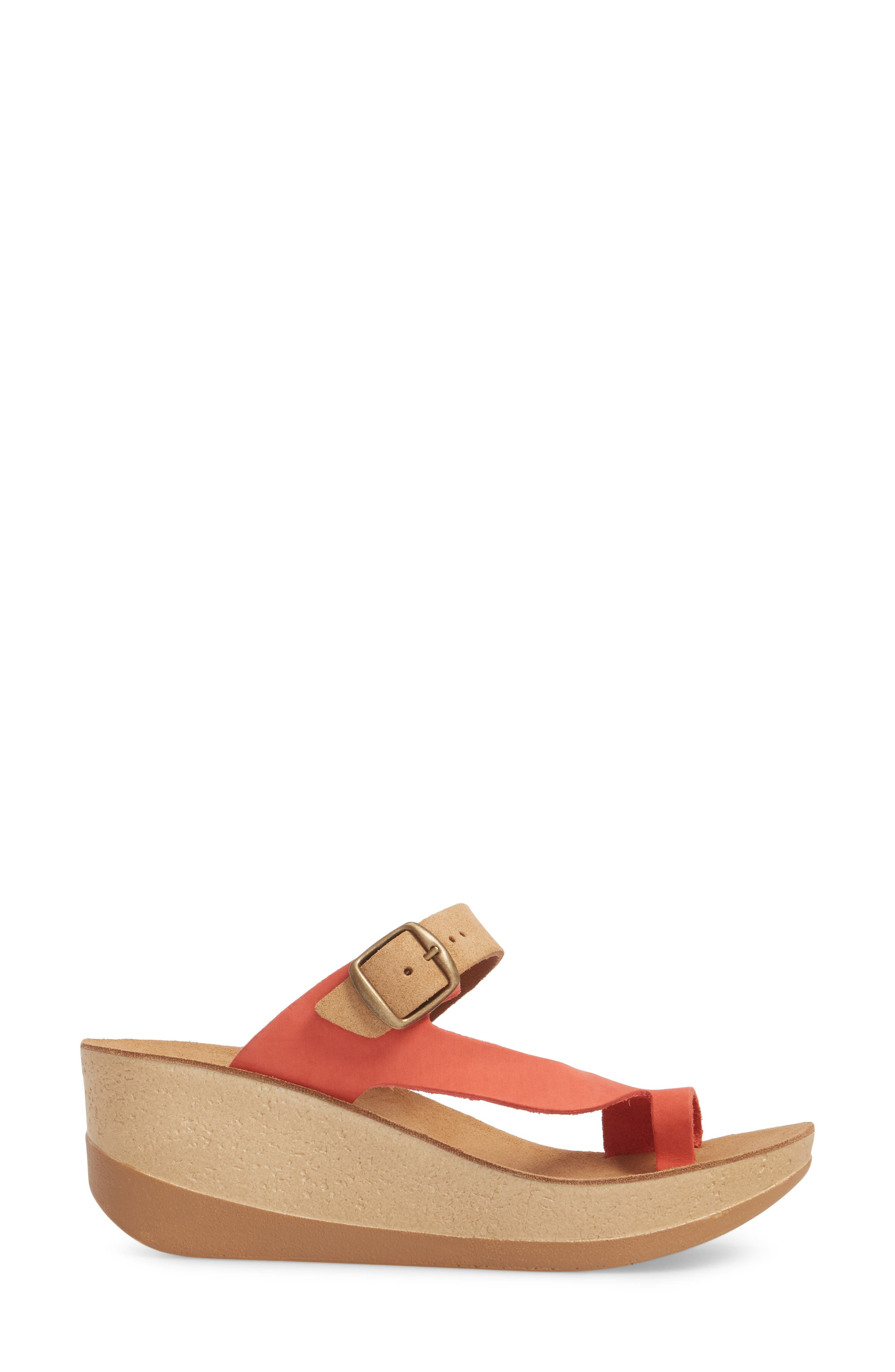 Felisa Wedge Sandal,                             Alternate thumbnail 3, color,                             Cuoio Red Leather