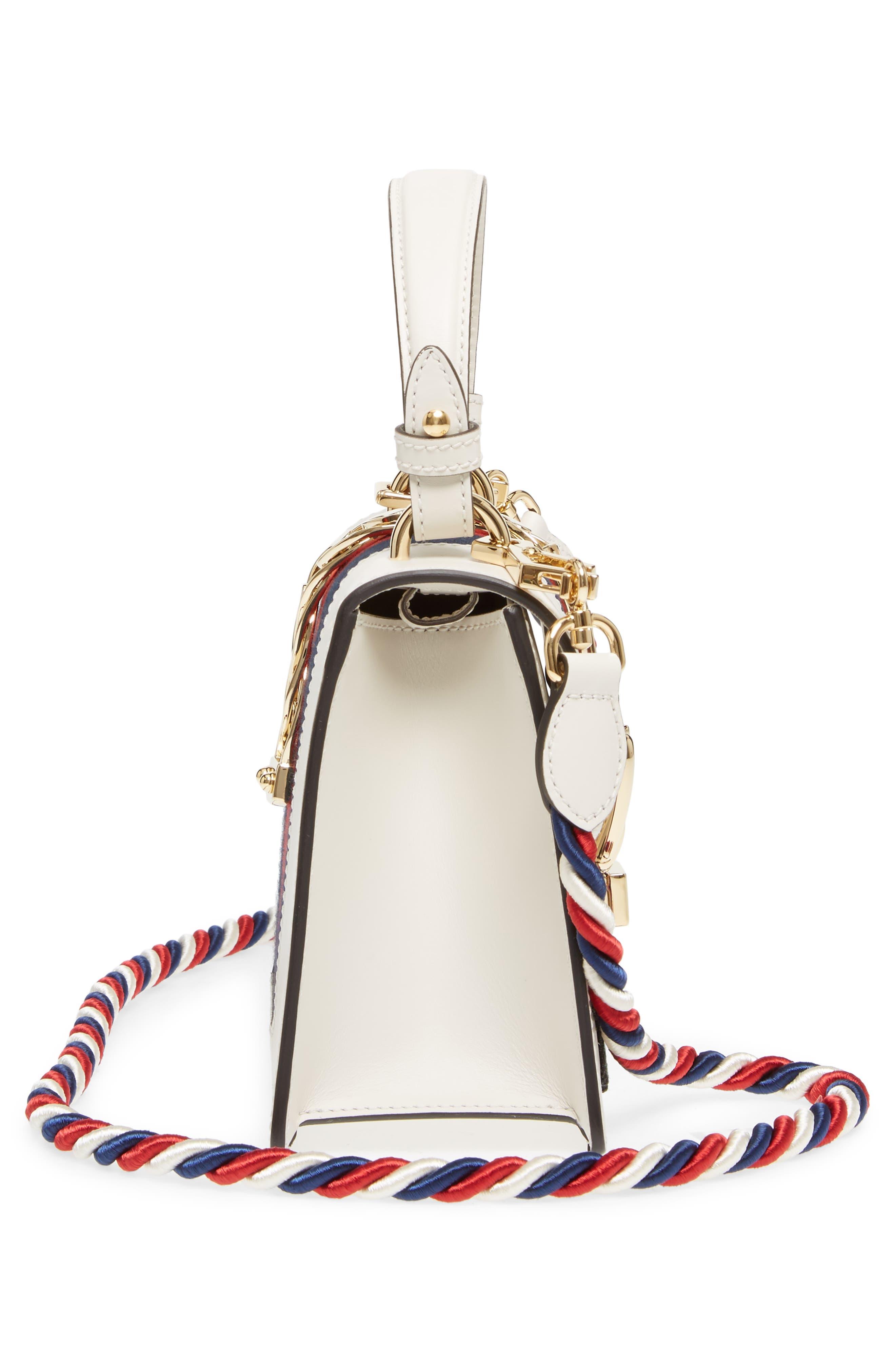 Mini Sylvie Embroidered Floral Leather Shoulder Bag,                             Alternate thumbnail 5, color,                             White Multi