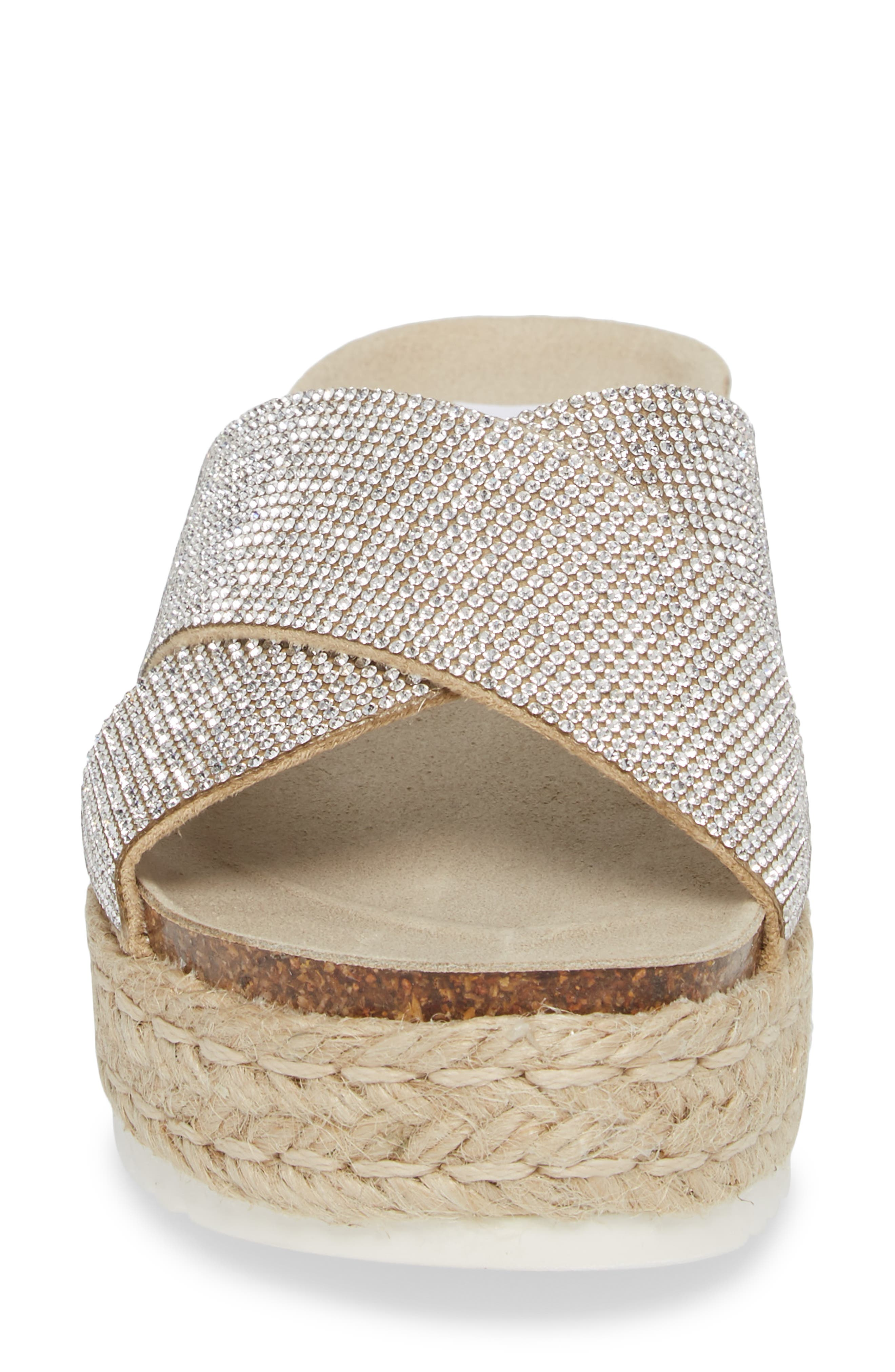 Arran-R Platform Espadrille Sandal,                             Alternate thumbnail 4, color,                             Rhinestone