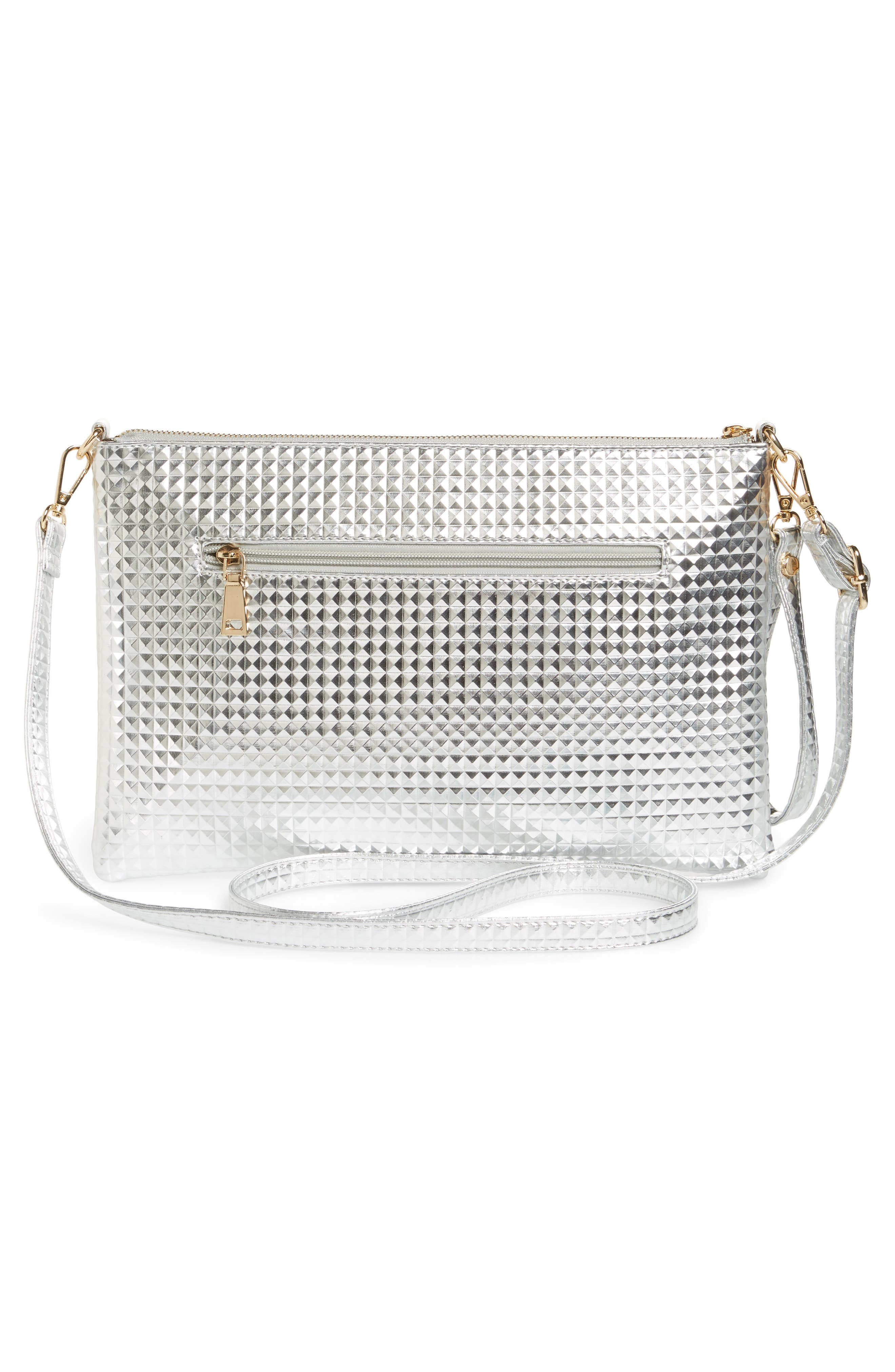 Large Textured Metallic Faux Leather Pouch,                             Alternate thumbnail 3, color,                             Silver