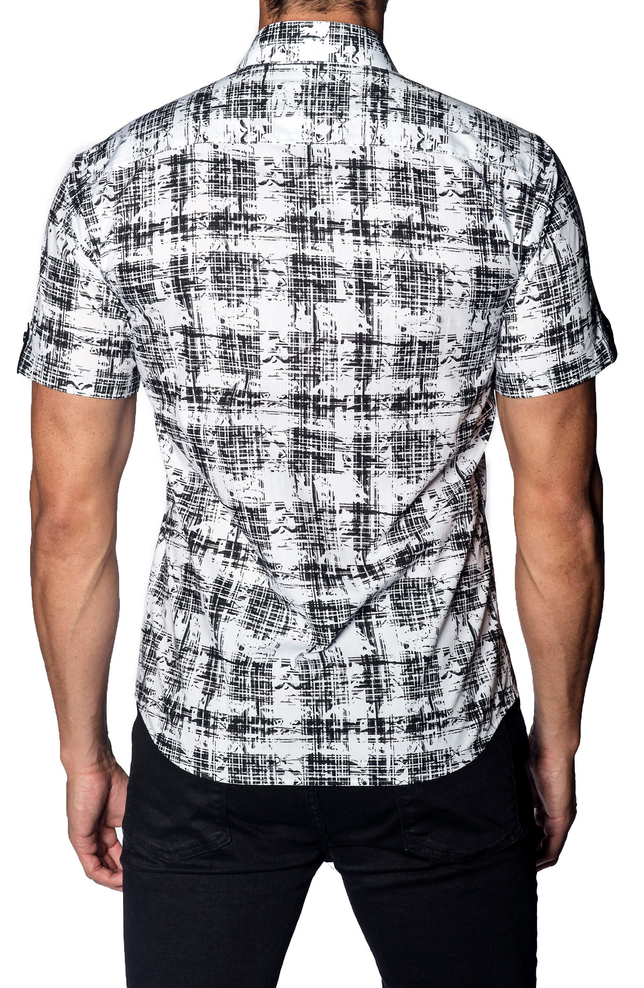 Trim Fit Print Sport Shirt,                             Alternate thumbnail 2, color,                             Black - White