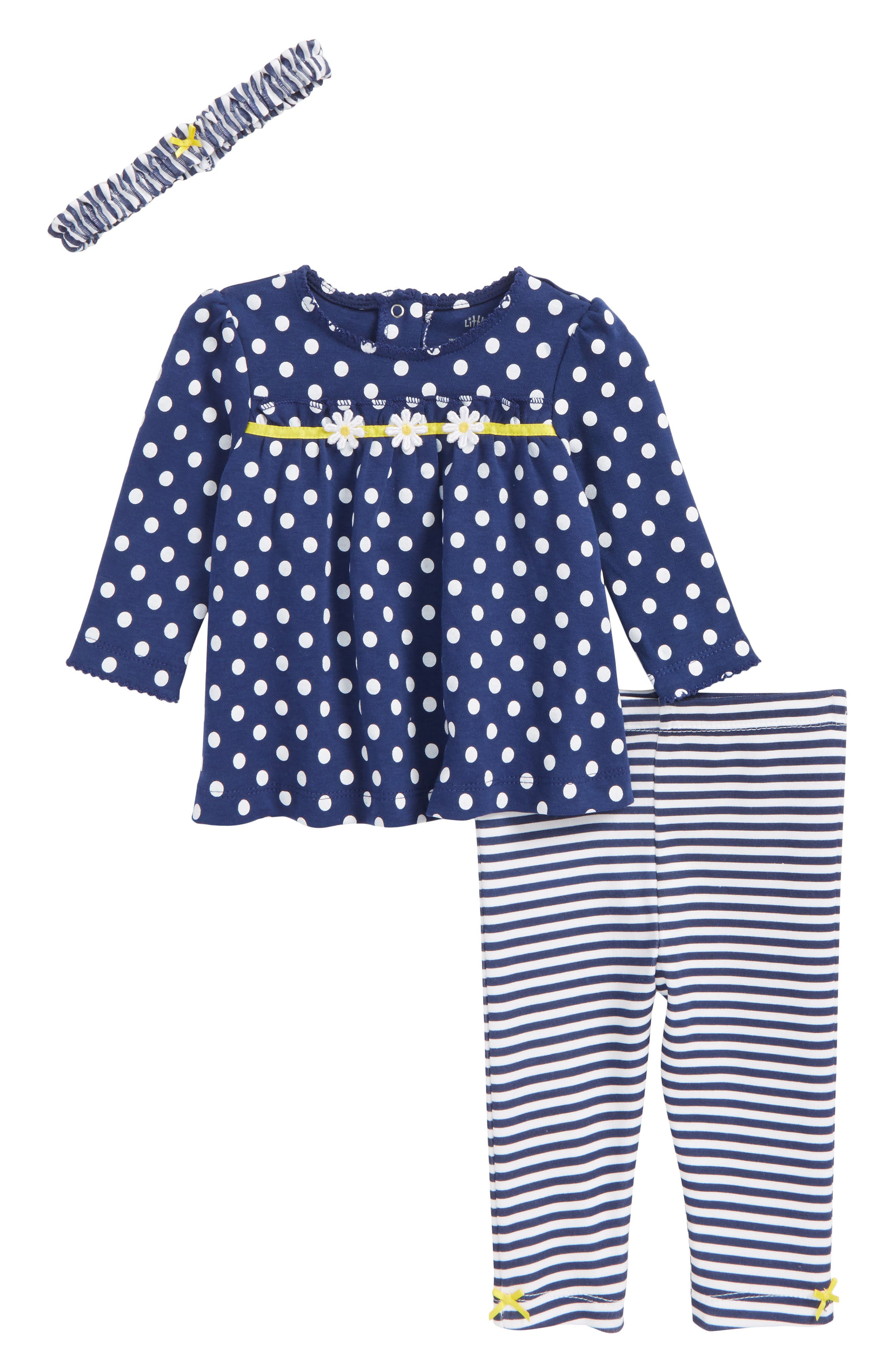 Alternate Image 1 Selected - Little Me Daisy Tunic, Leggings & Headband Set (Baby Girls)