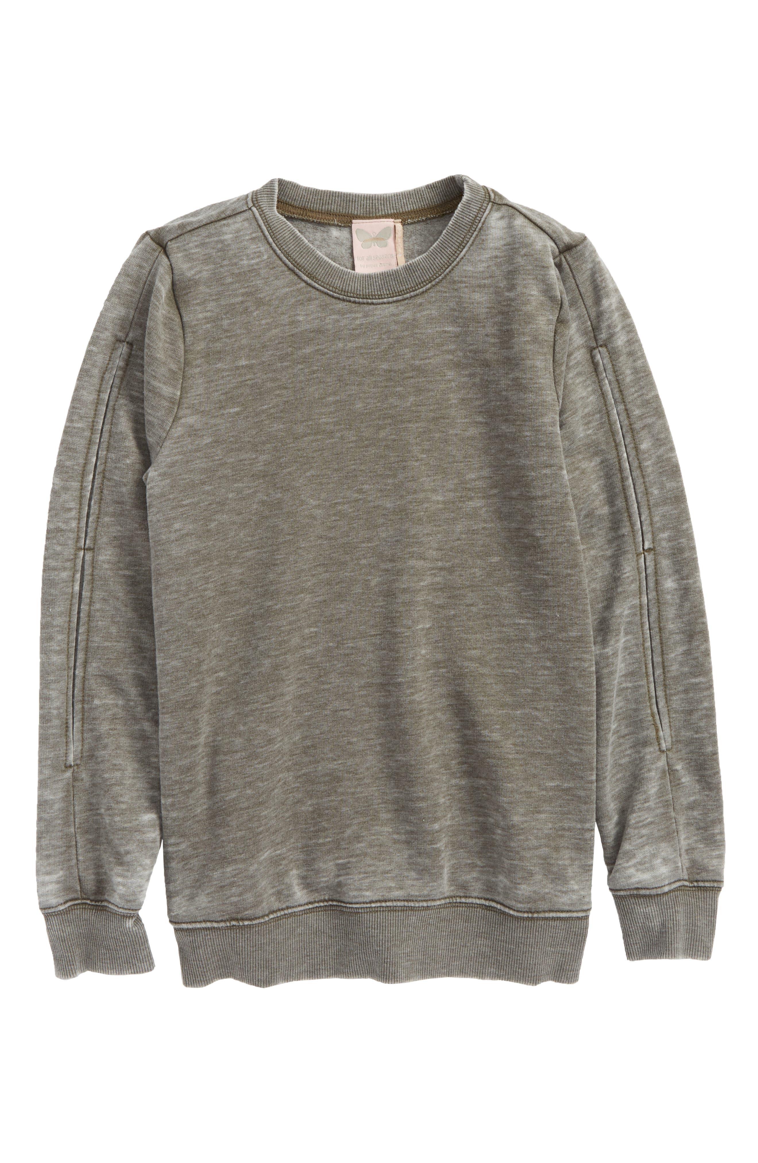 Mineral Wash Sweatshirt,                         Main,                         color, Olive