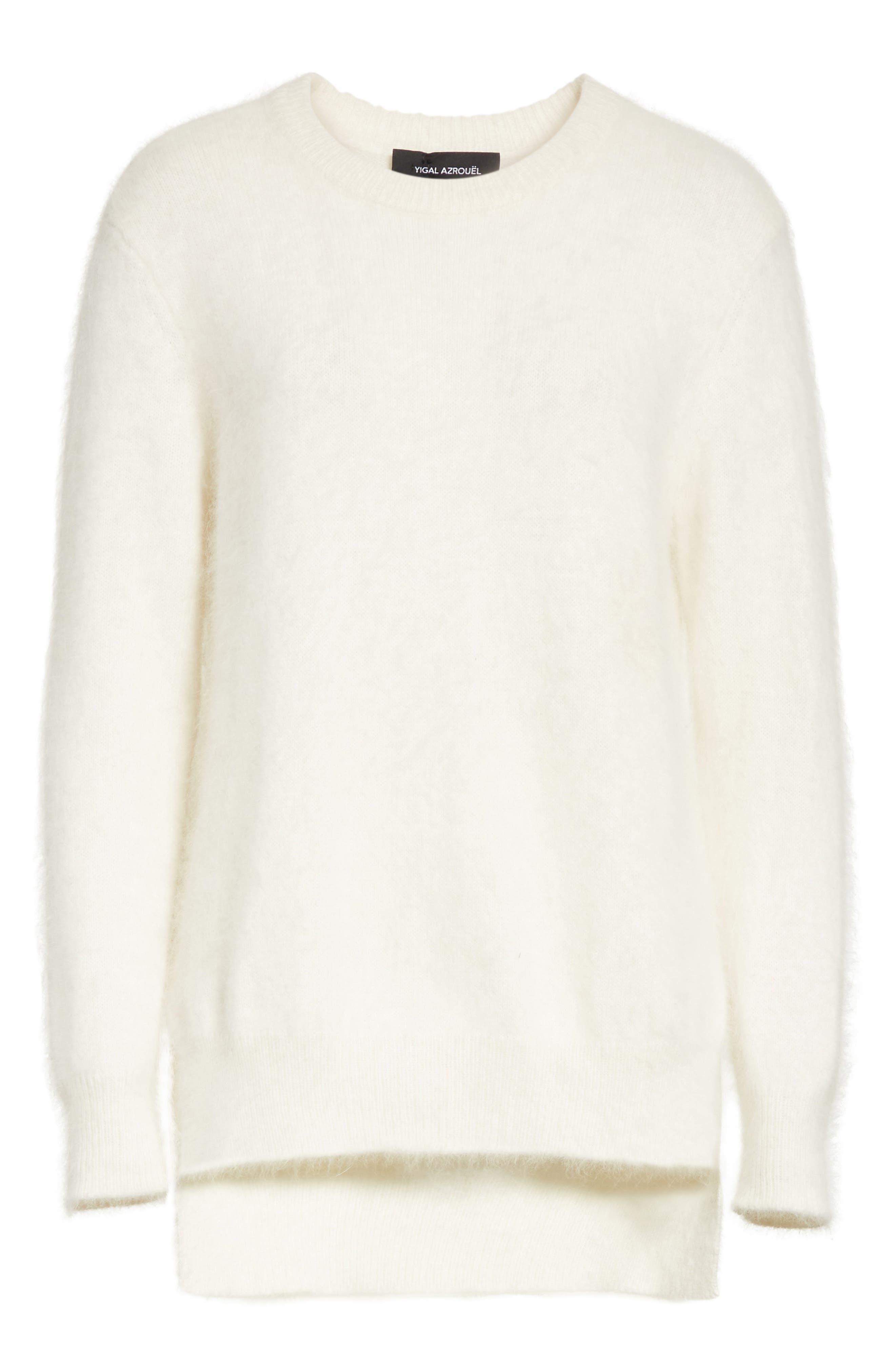 Step Hem Angora Sweater,                             Alternate thumbnail 7, color,                             Off White