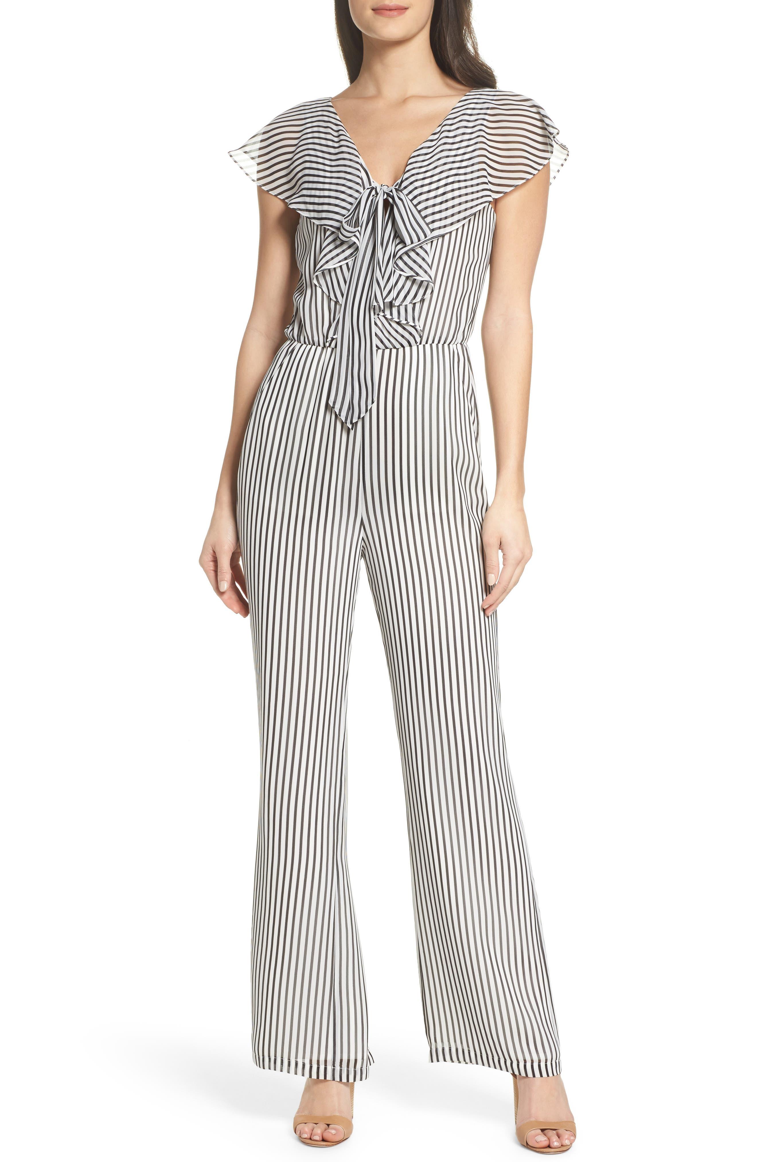 Cherry on Top Stripe Ruffle Jumpsuit,                             Main thumbnail 1, color,                             Black/ White Stripe