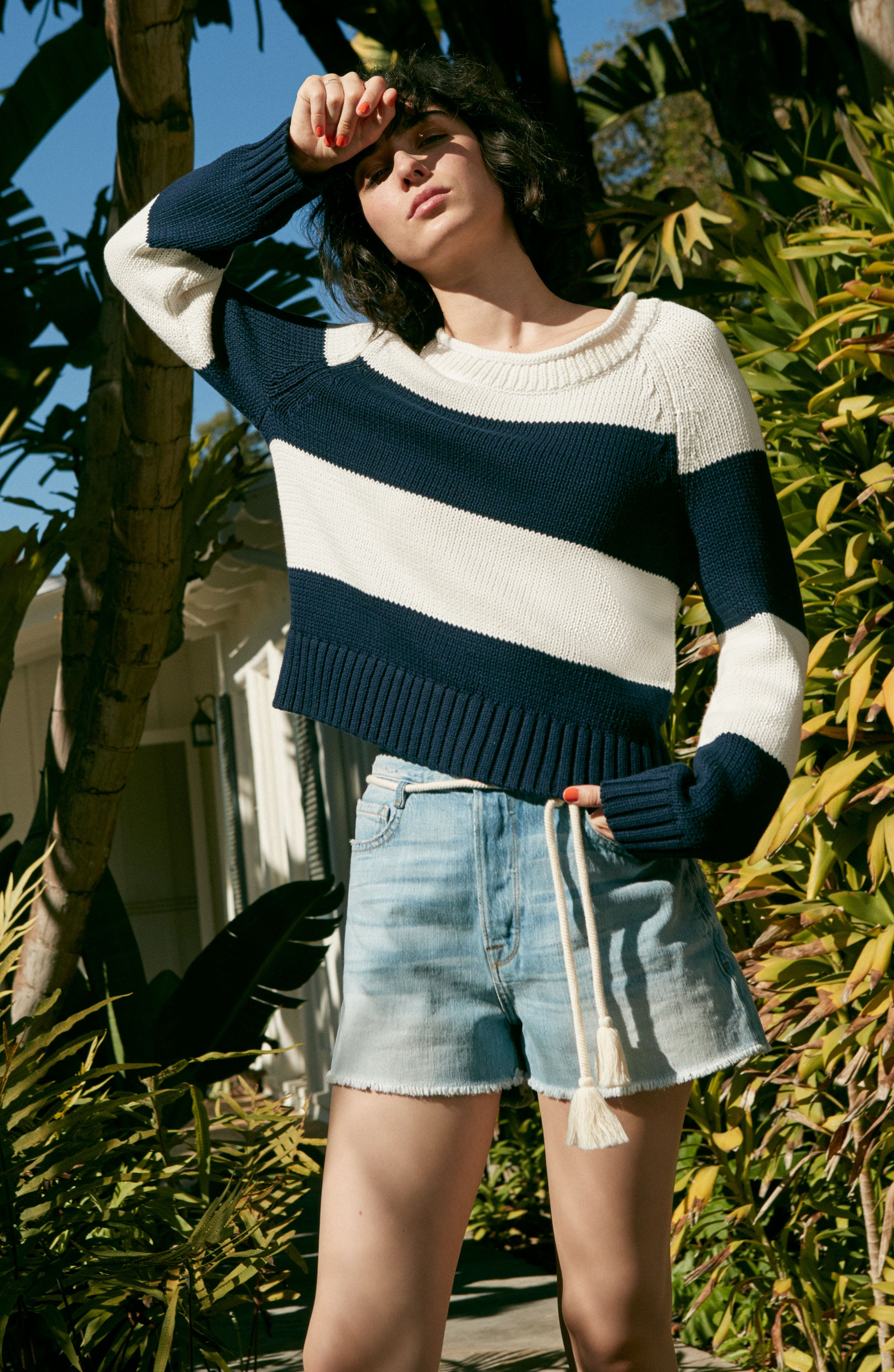 Stripe Cotton Blend Sweater,                             Alternate thumbnail 2, color,                             Off White/ Navy Stripe