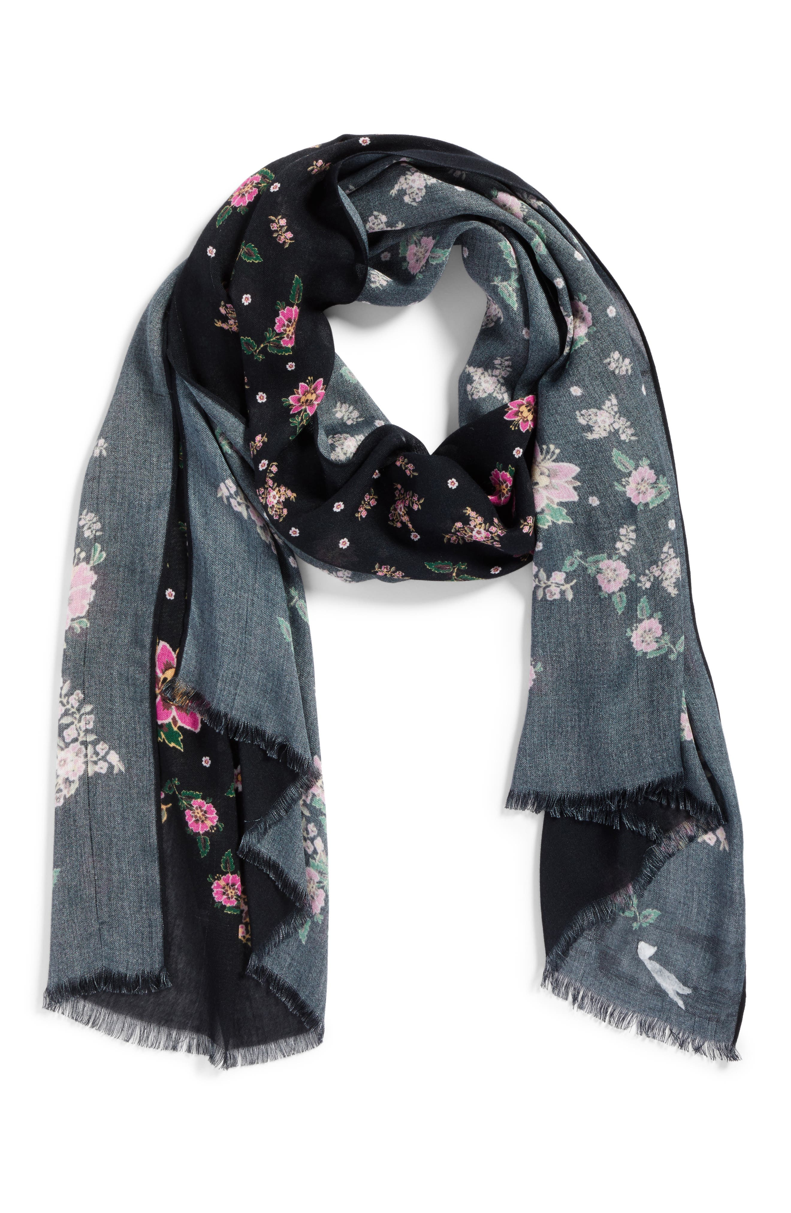 Mixed Floral Oblong Scarf,                             Alternate thumbnail 2, color,                             Black