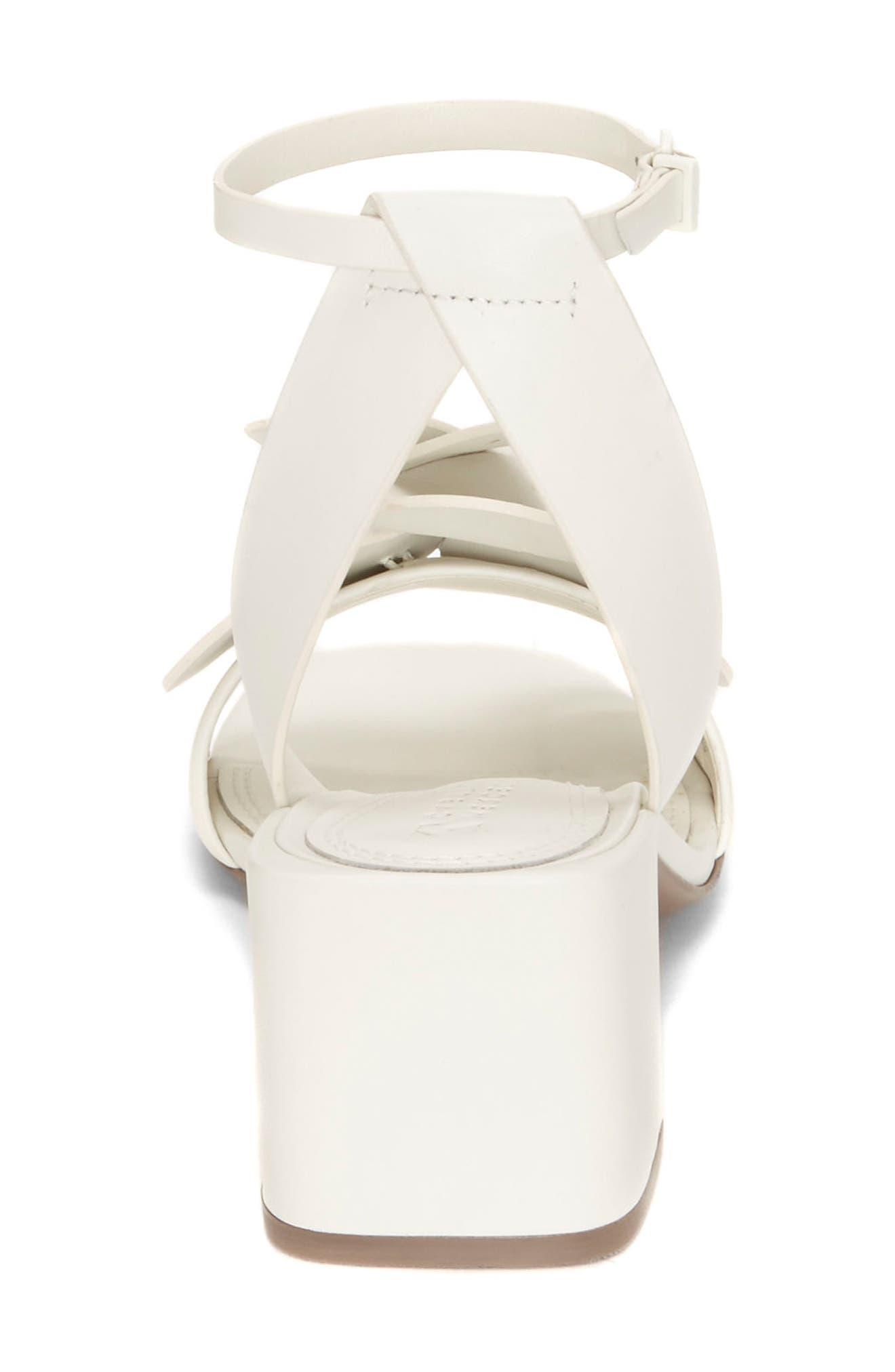 Tealia Sculpted Floral Sandal,                             Alternate thumbnail 5, color,                             White Leather