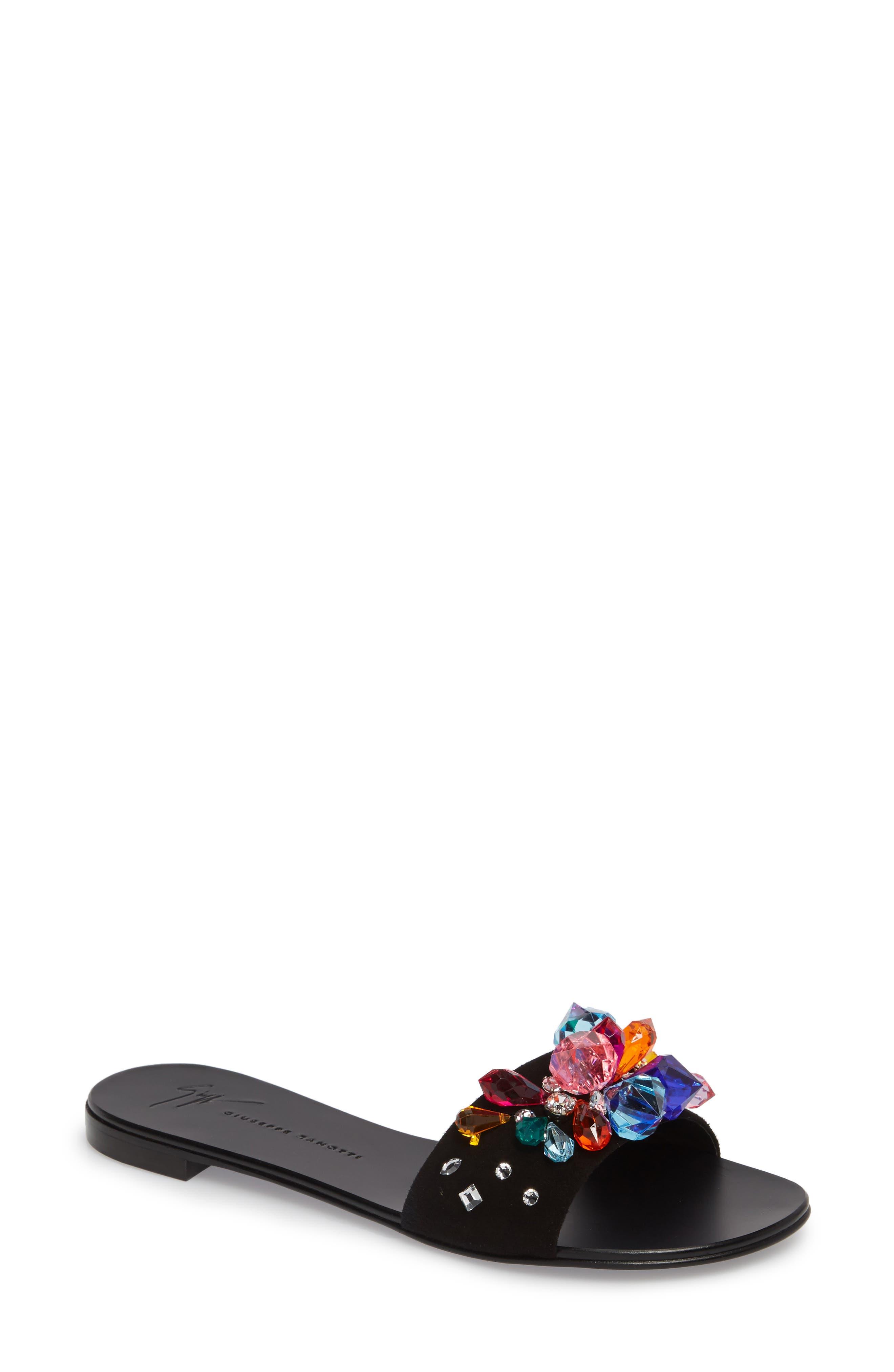 Embellished Slide Sandal,                             Main thumbnail 1, color,                             Black