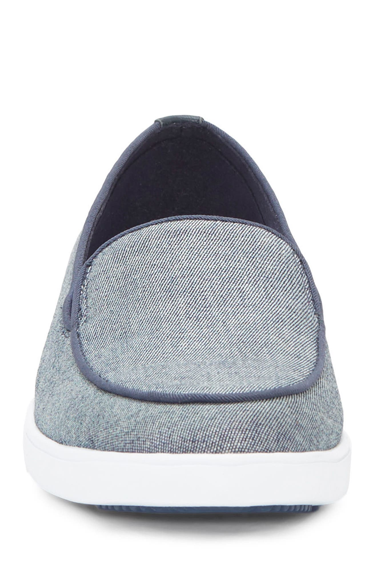 Antona Slip-On Sneaker,                             Alternate thumbnail 4, color,                             Blue Fabric