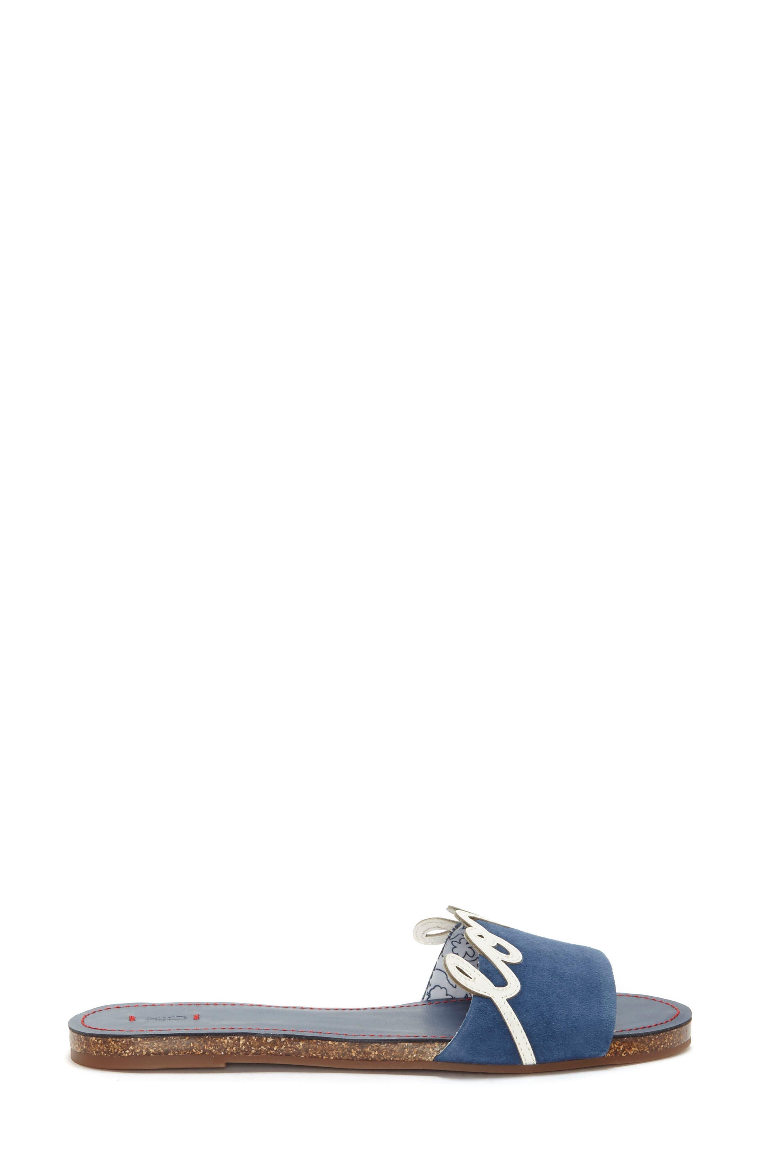 Sharlin Slide Sandal,                             Alternate thumbnail 3, color,                             Oxford Blue/ Milk