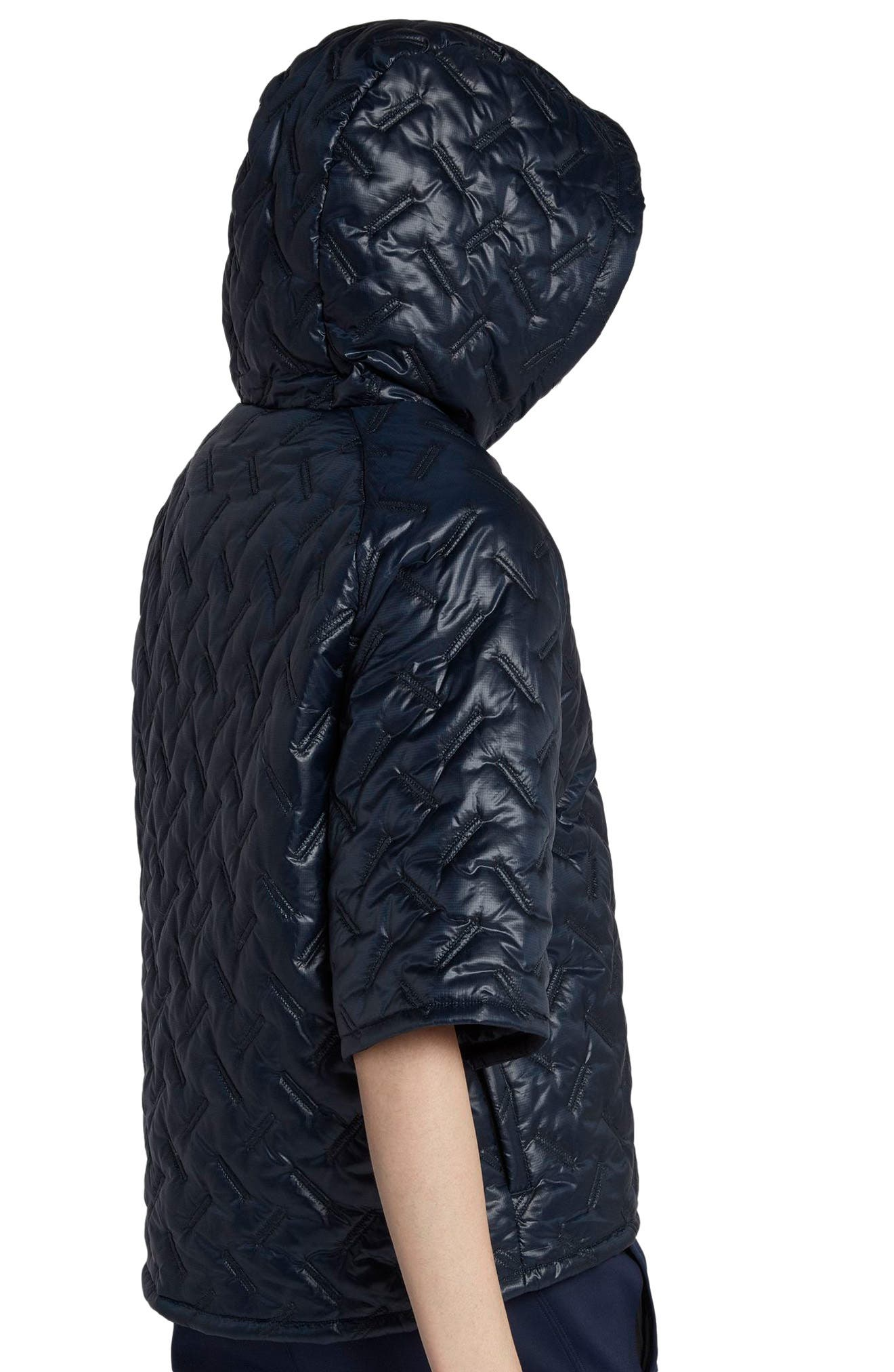 NikeLab Essentials Insulated Short Sleeve Women's Hoodie,                             Alternate thumbnail 7, color,                             Dark Obsidian/ Black