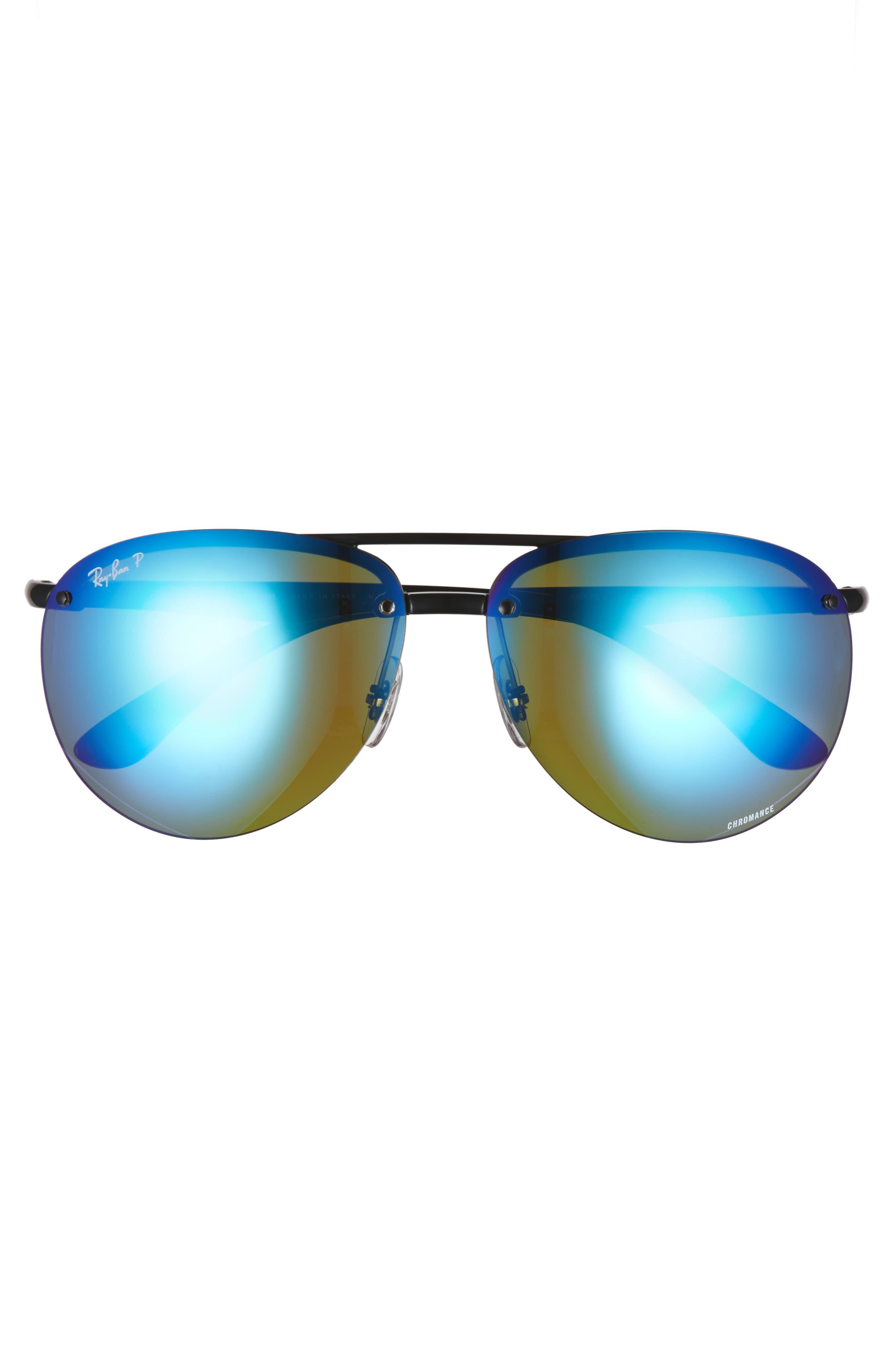 64mm Oversized Polarized Mirrored Rimless Aviator Sunglasses,                             Alternate thumbnail 2, color,                             Black