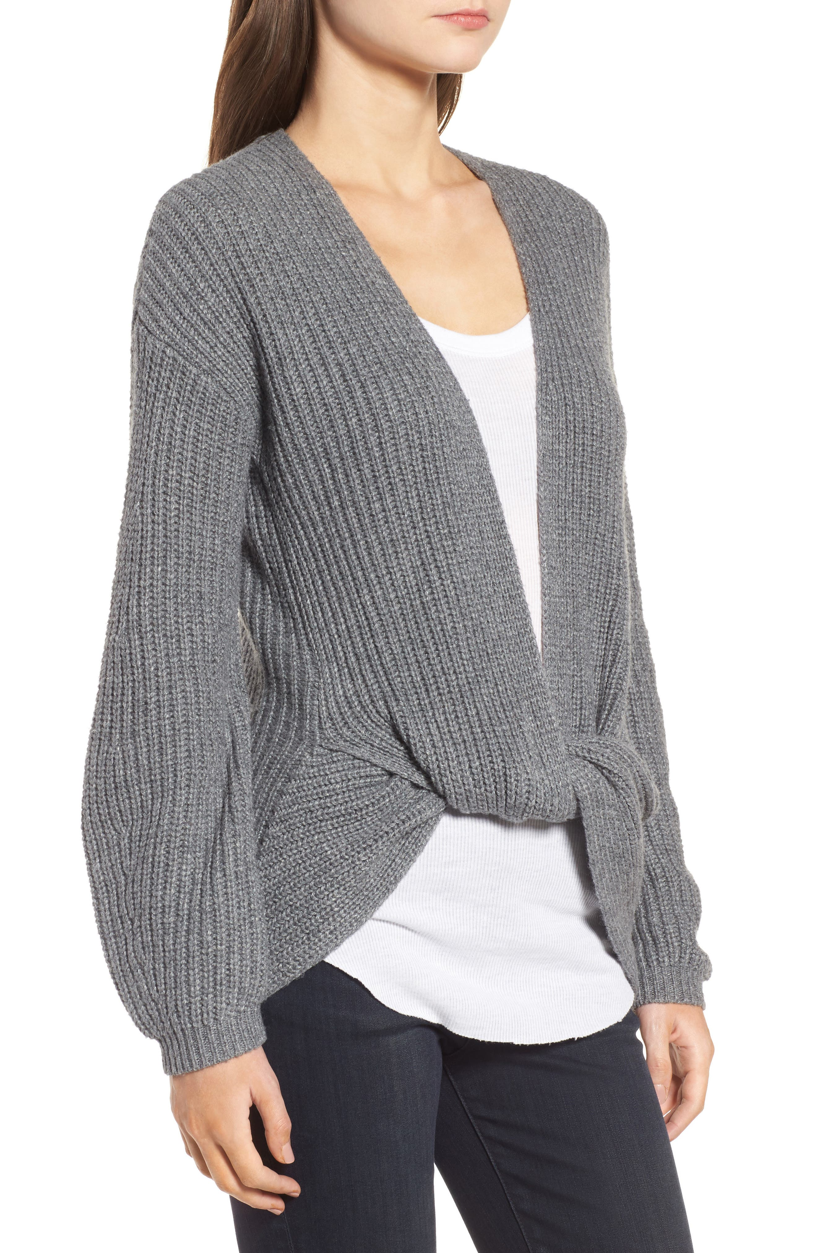 Twist Front Sweater,                             Alternate thumbnail 3, color,                             Grey Dark Heather
