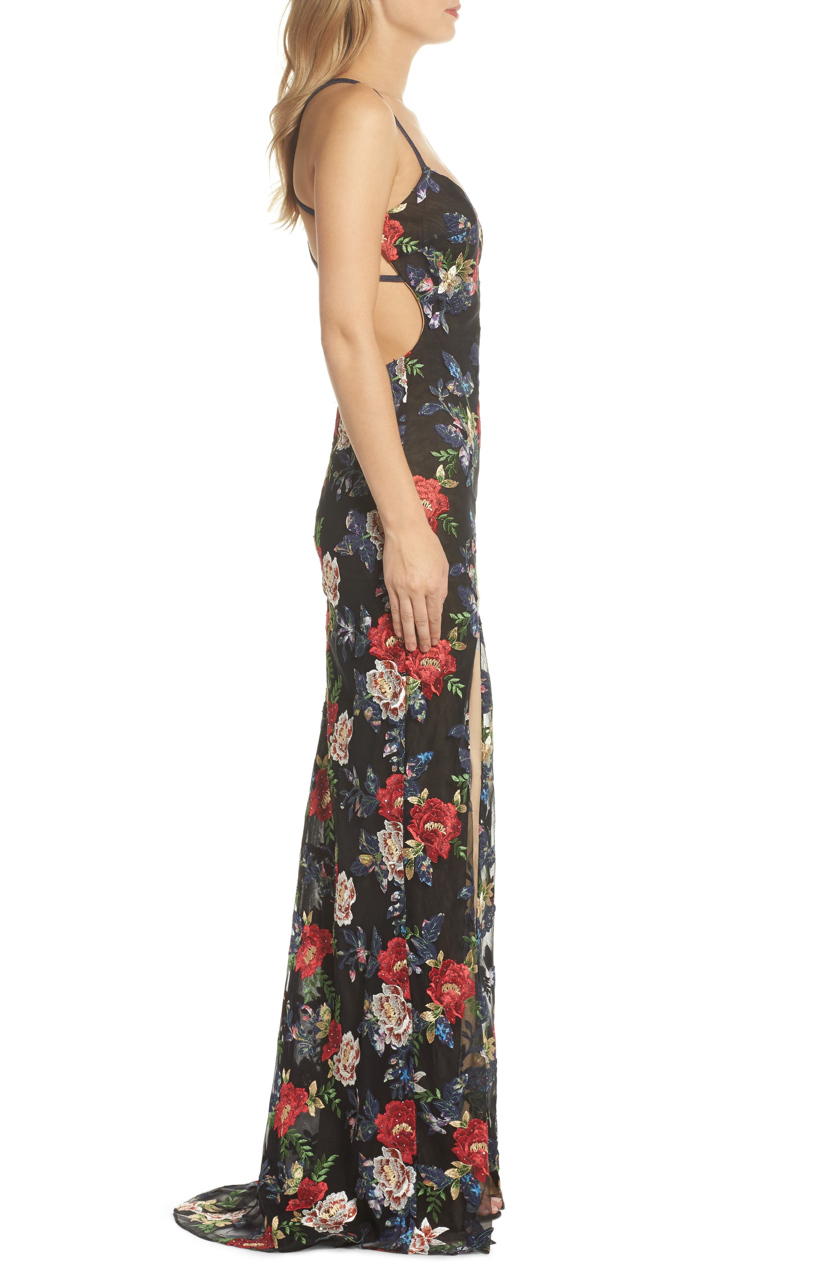 Floral Embroidered Gown,                             Alternate thumbnail 3, color,                             Multi